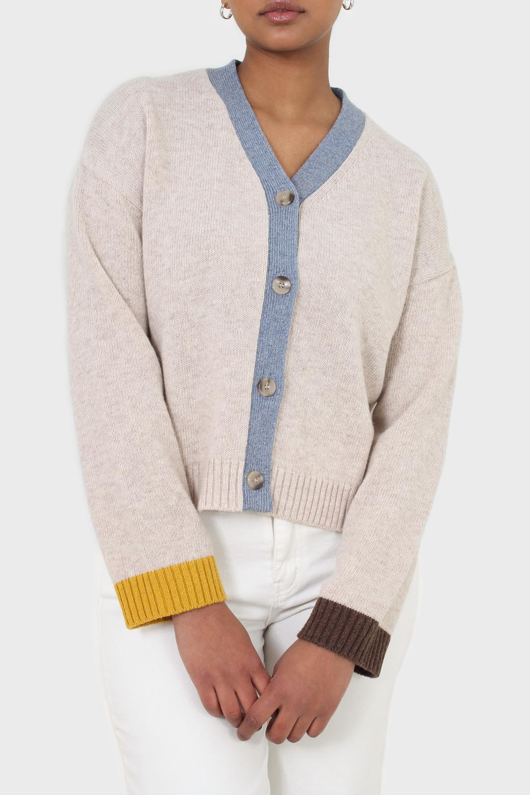Oatmeal and blue contrast trim cardigan 7