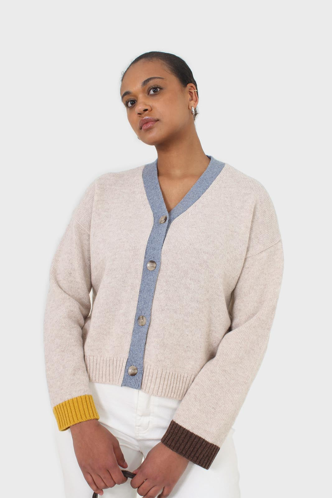 Oatmeal and blue contrast trim cardigan sx