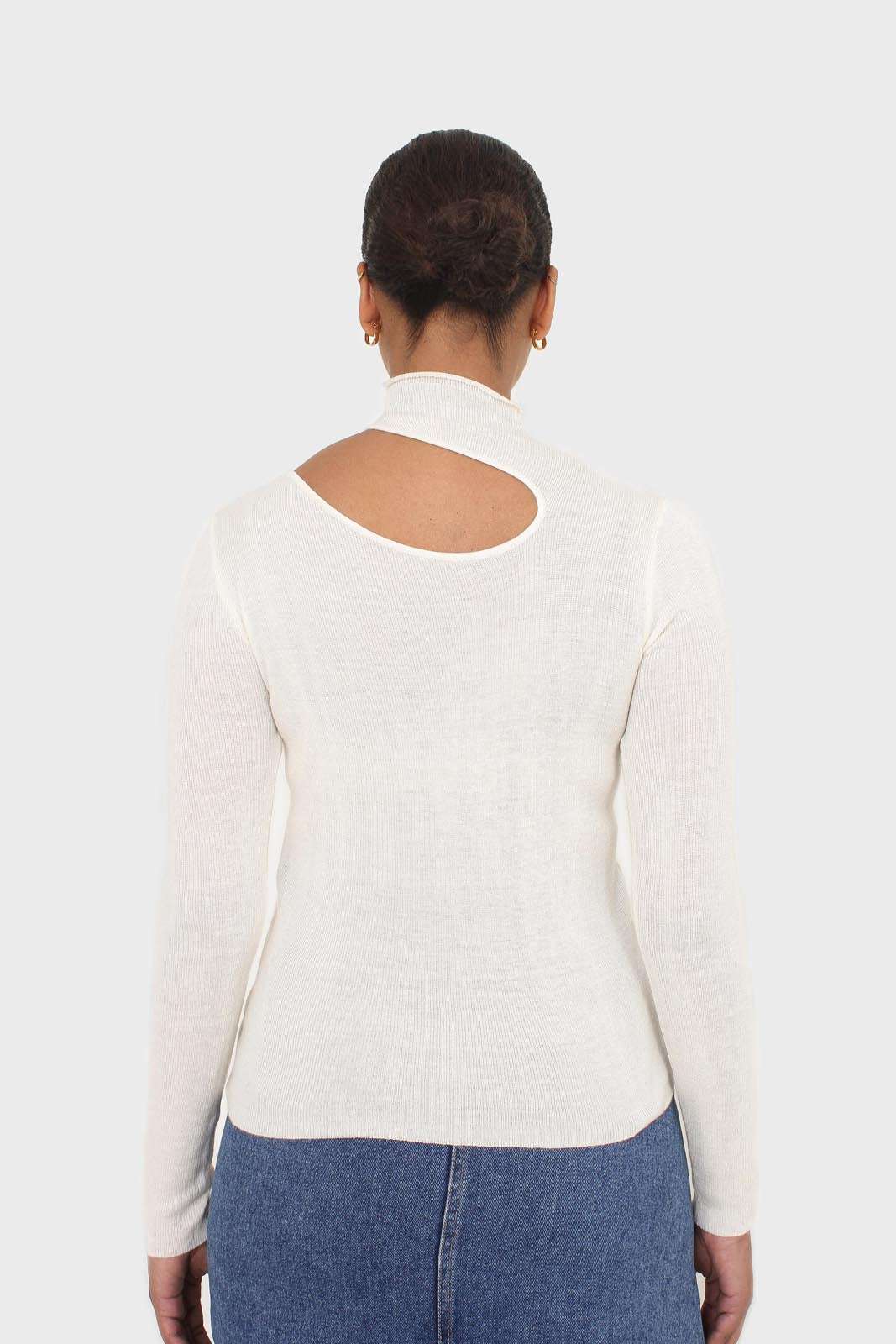 Ivory large cut out fitted knit turtleneck 3