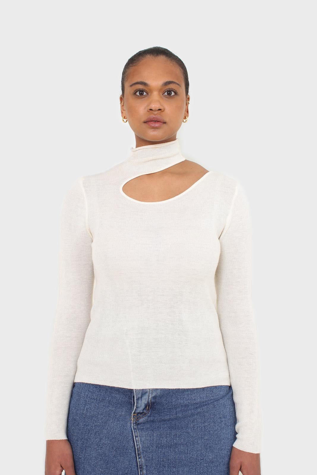 Ivory large cut out fitted knit turtleneck 4