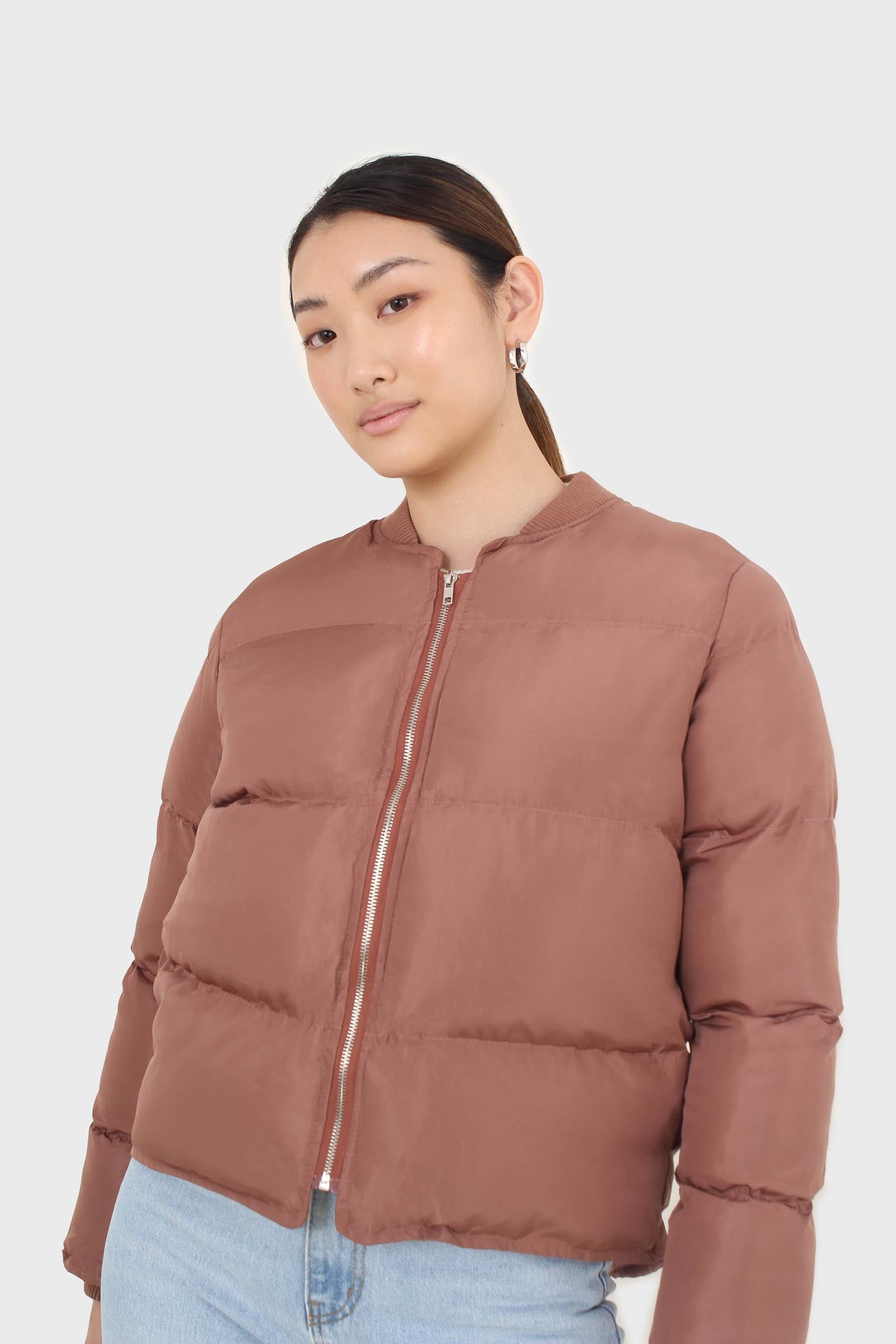 Brown round neck puffer jacket