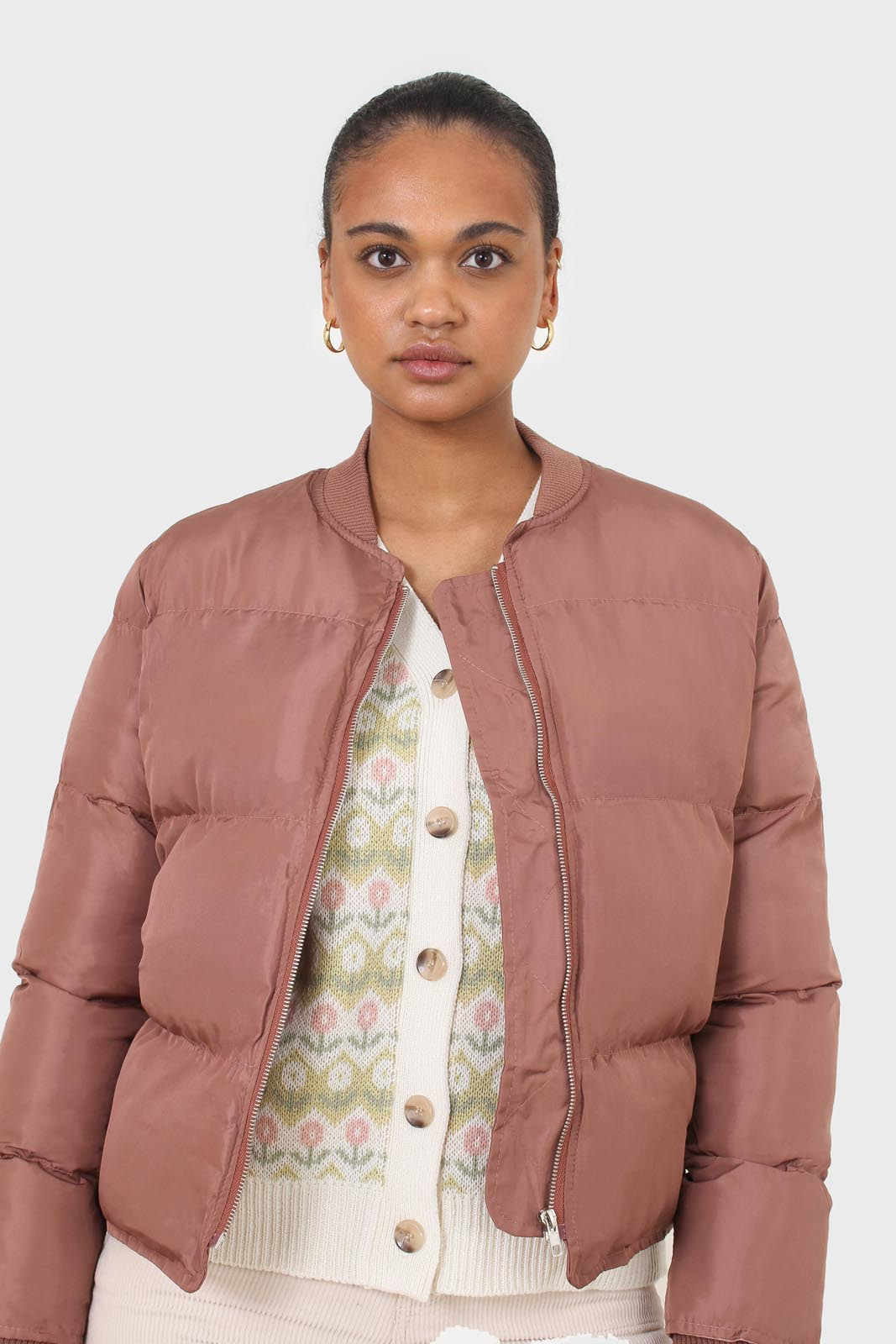 Brown round neck puffer jacket 8
