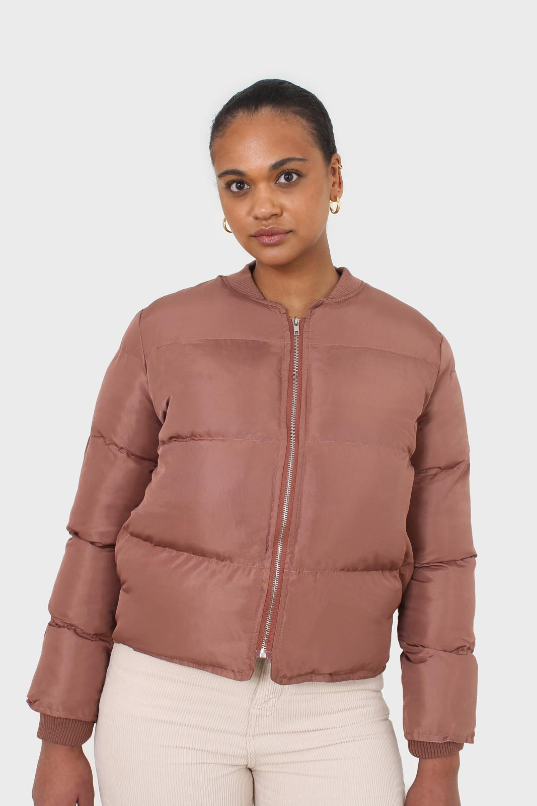 Brown round neck puffer jacket sx