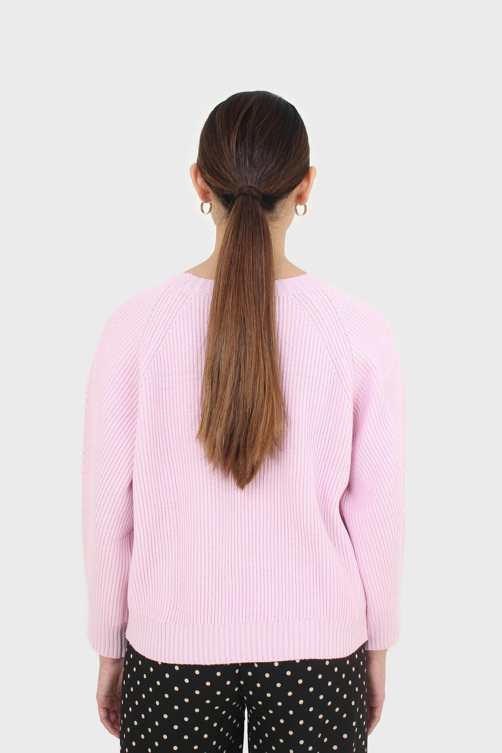 Pale pink ribbed crew neck jumper1
