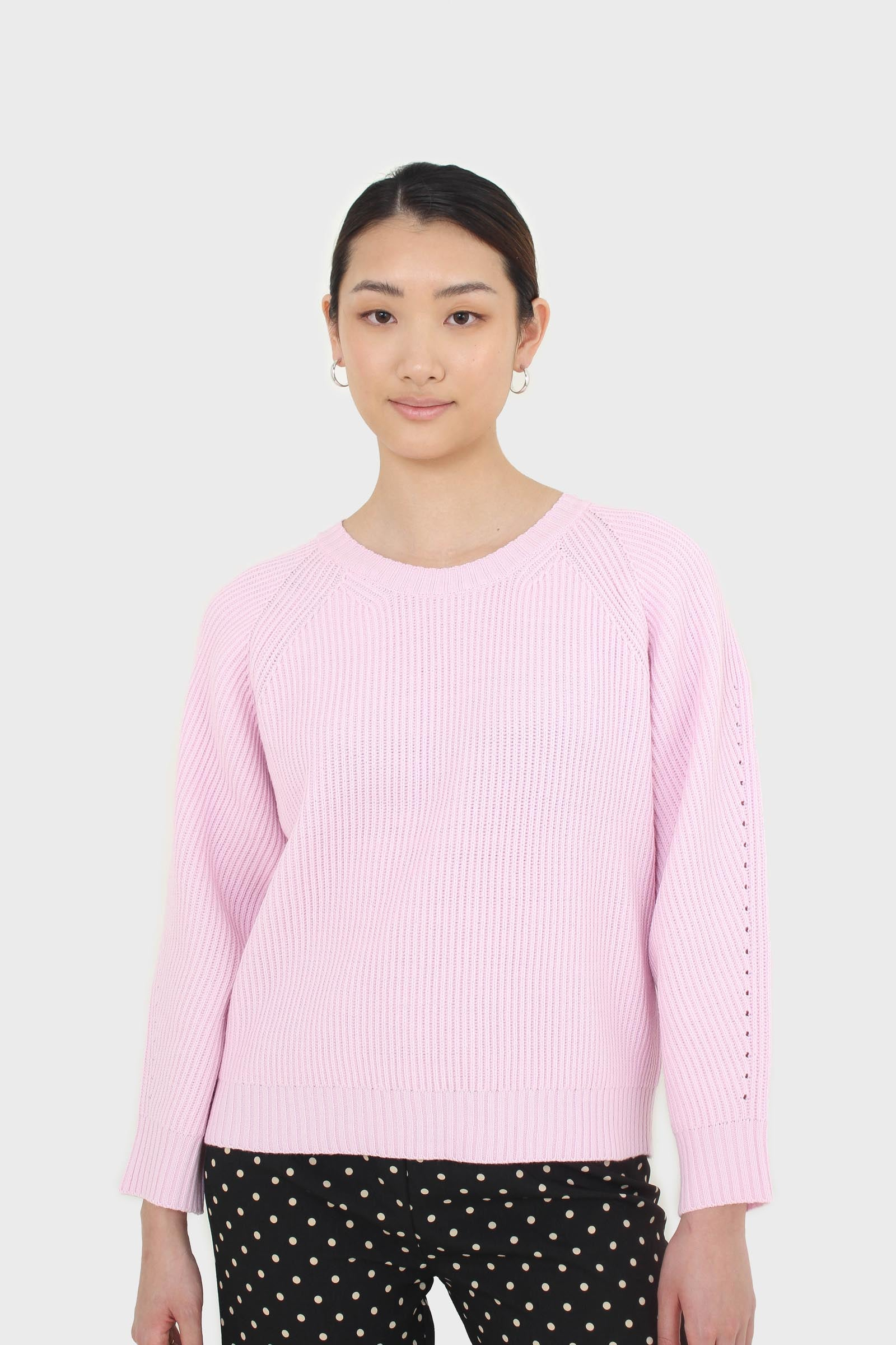 Pale pink ribbed crew neck jumper2