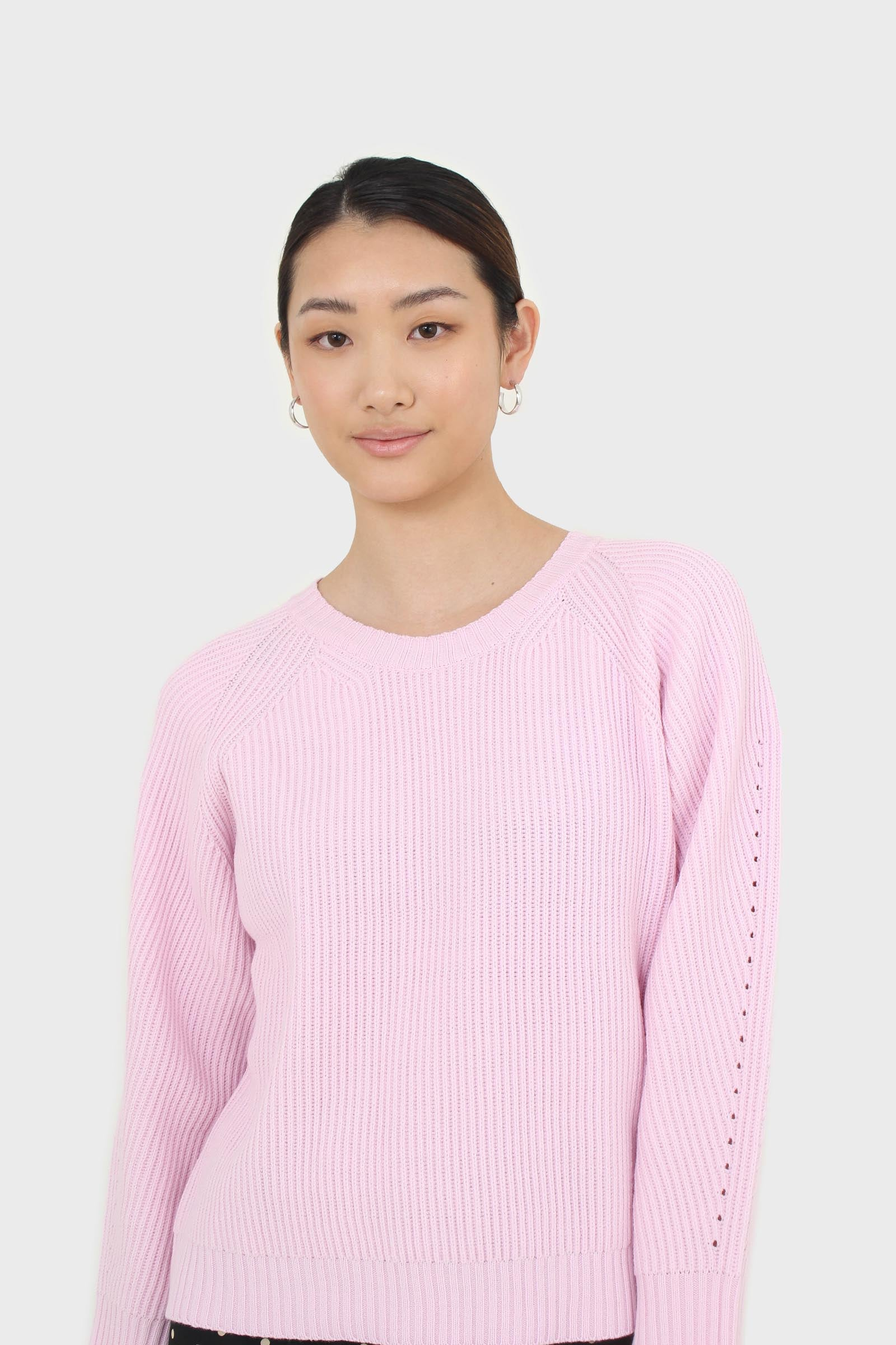 Pale pink ribbed crew neck jumper3