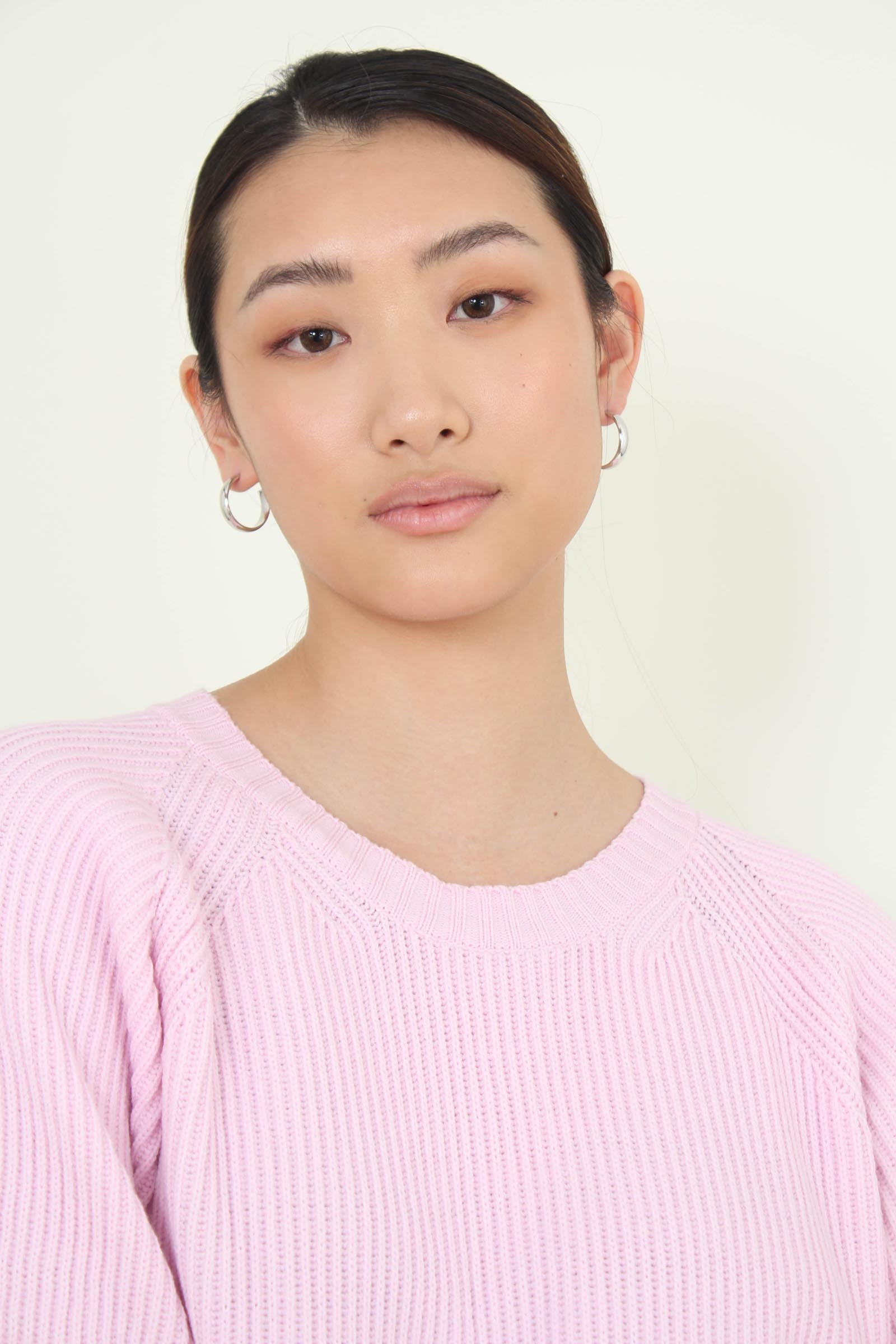 Pale pink ribbed crew neck jumper4