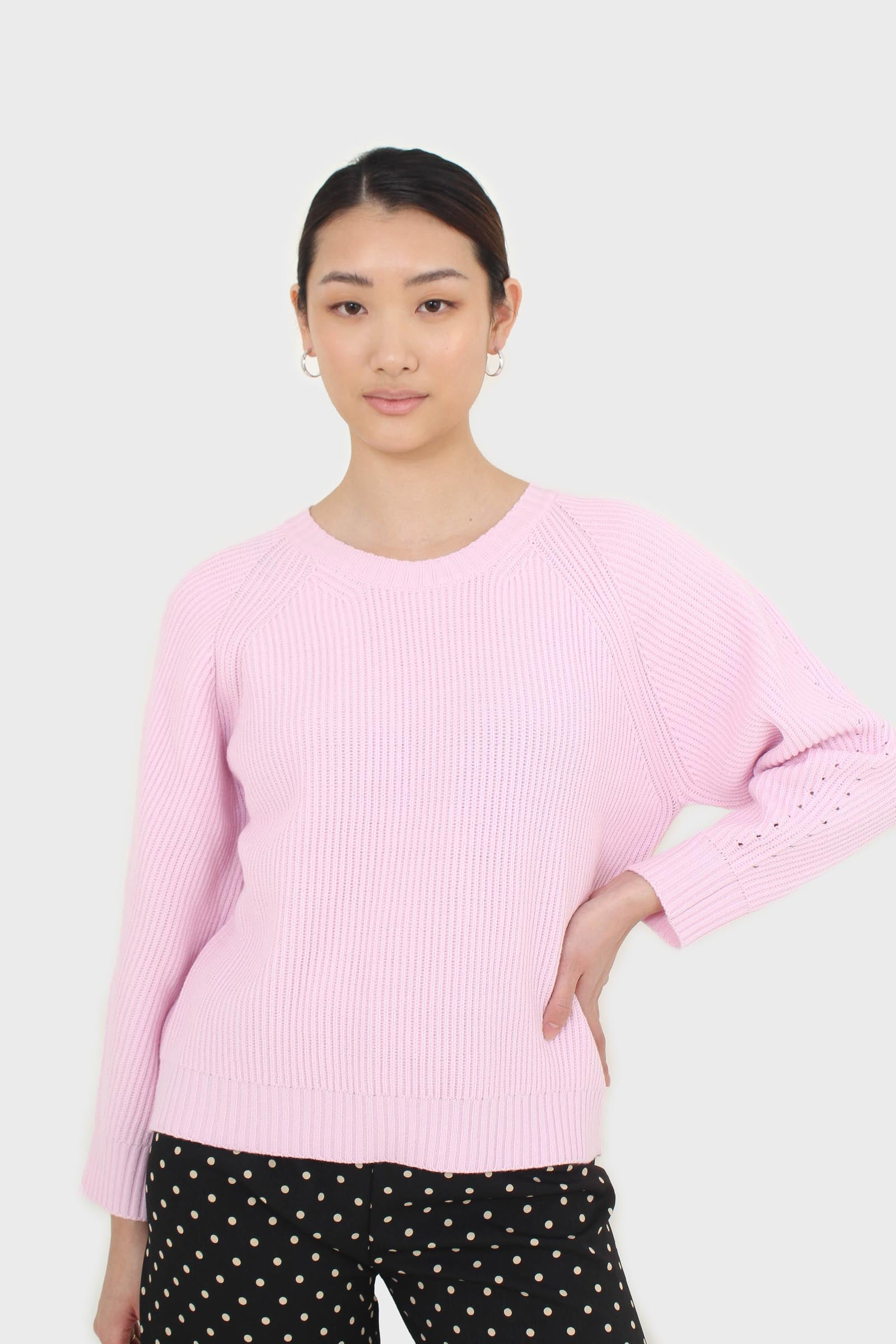 Pale pink ribbed crew neck jumper5