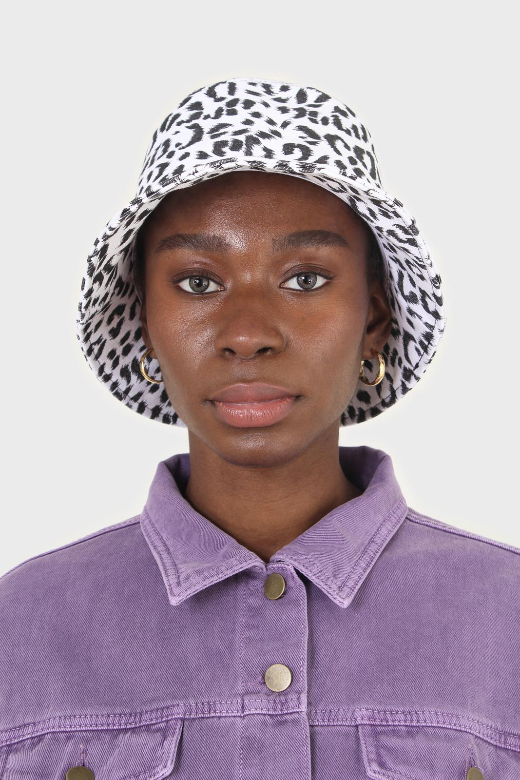 Ivory and black leopard print bucket hat1