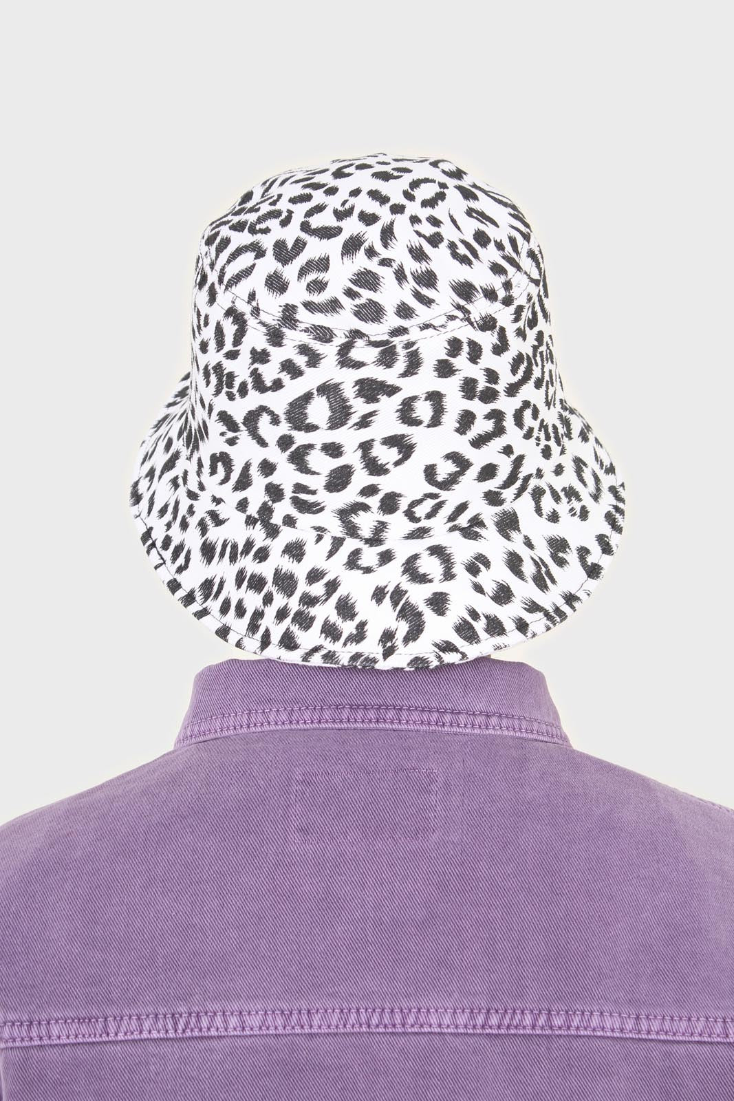 Ivory and black leopard print bucket hat3