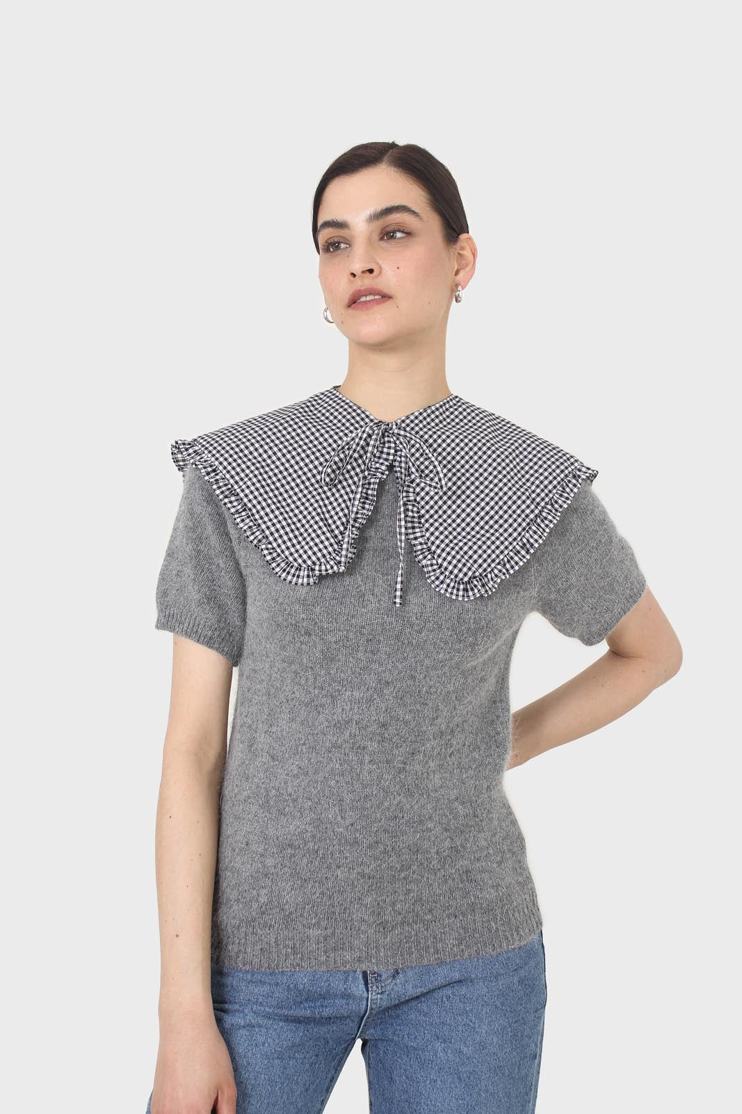 Black and white gingham detachable collar2