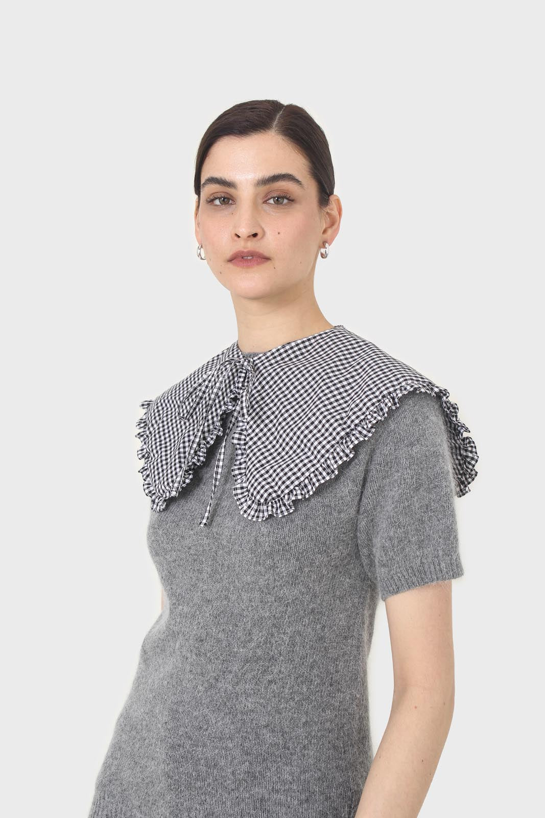 Black and white gingham detachable collar3