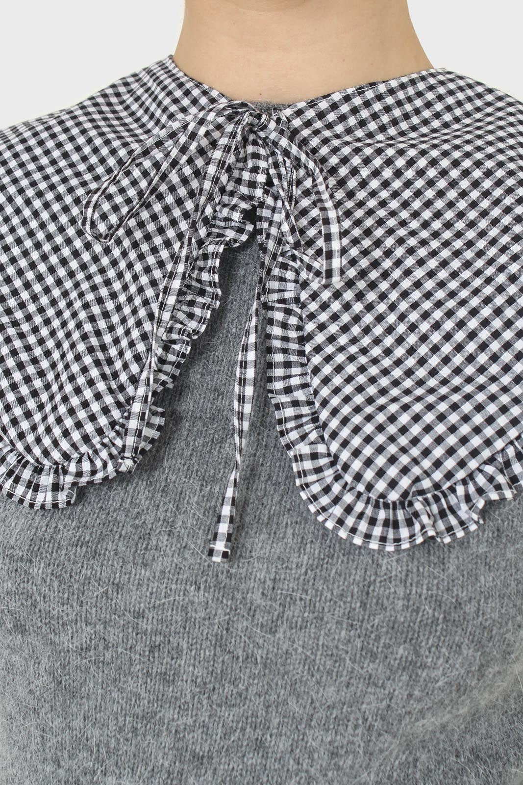 Black and white gingham detachable collar4