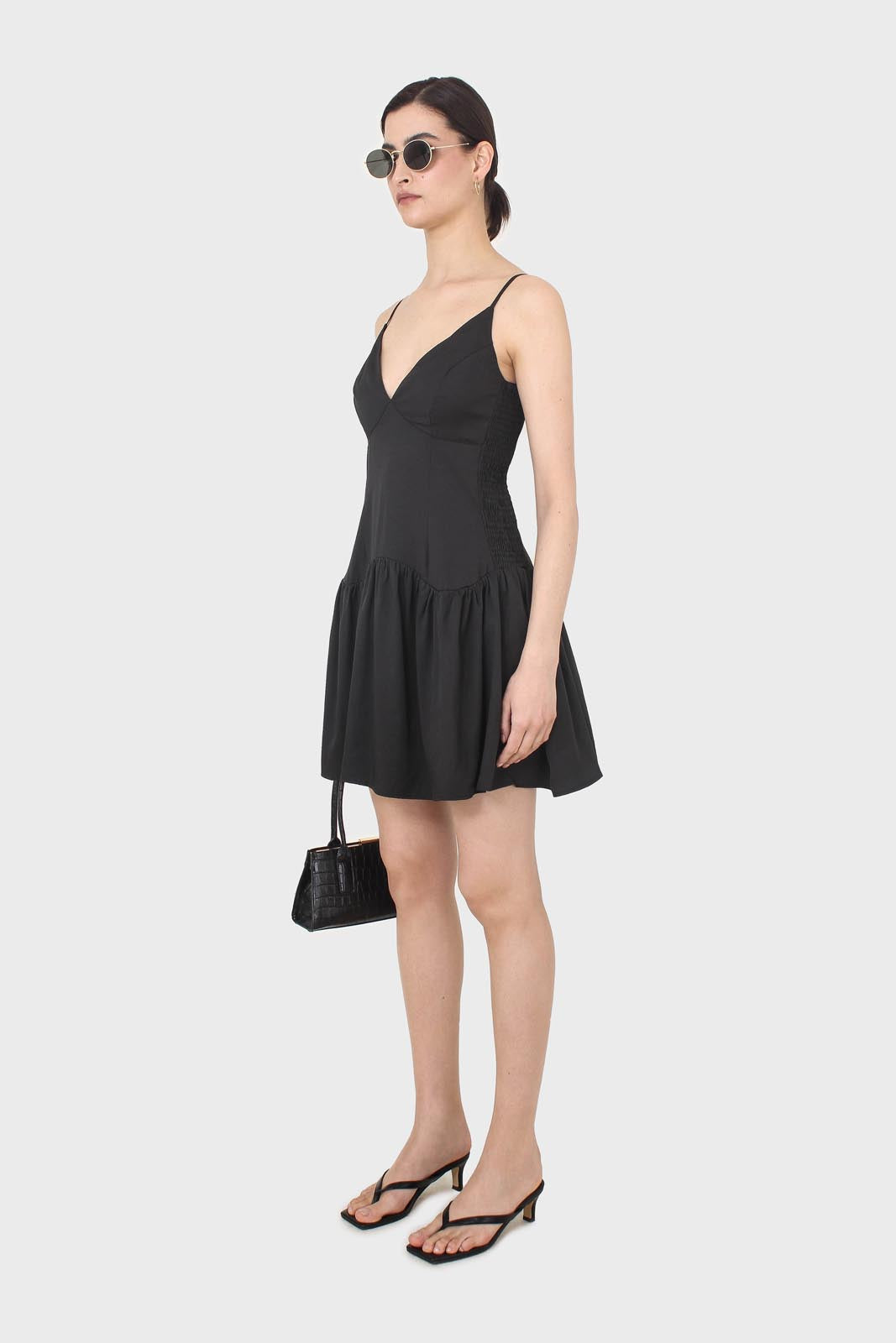 Black spaghetti strap tie back mini dress2