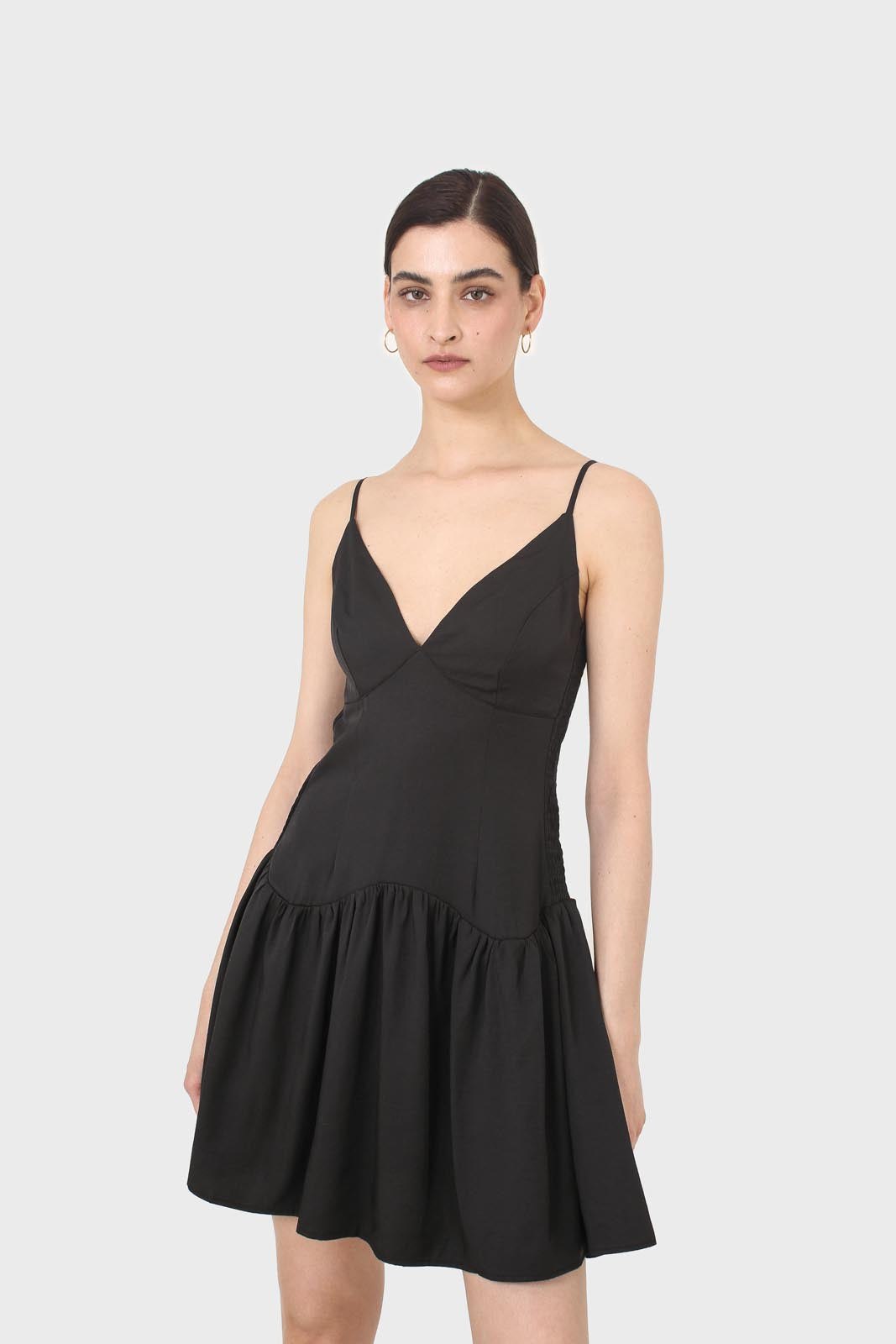 Black spaghetti strap tie back mini dress7