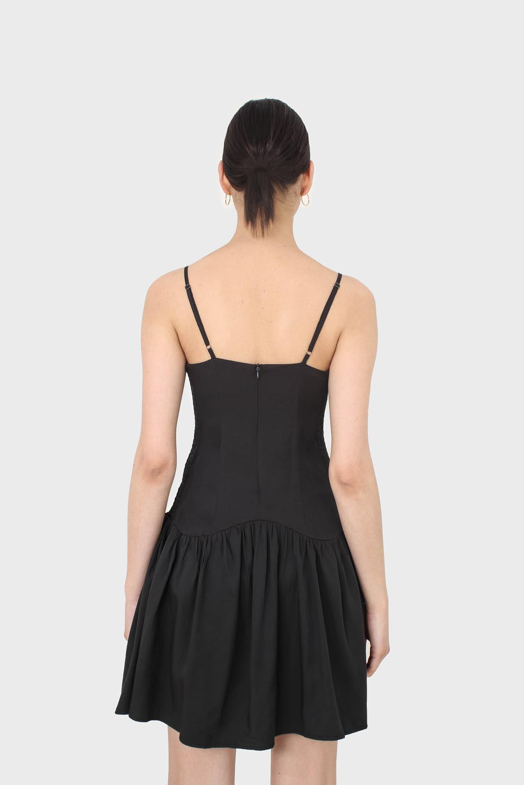 Black spaghetti strap tie back mini dress9