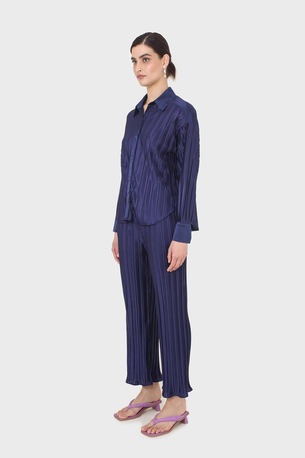 Navy micro pleat trousers2