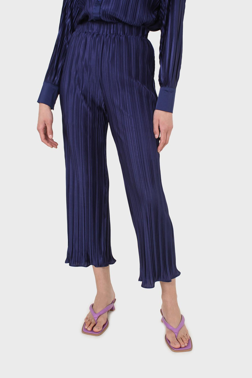 Navy micro pleat trousers4
