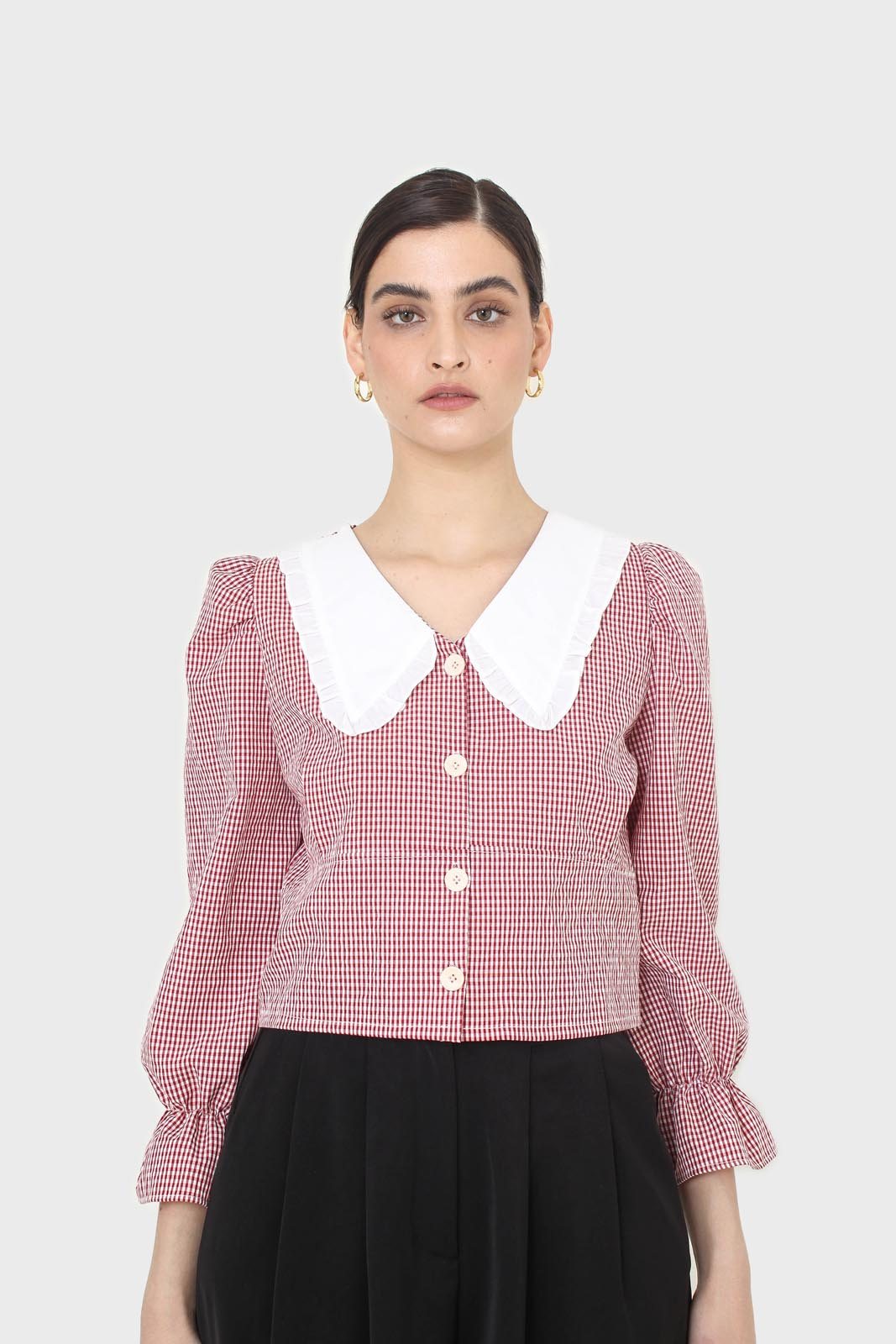 Red and ivory gingham large collar blouse1