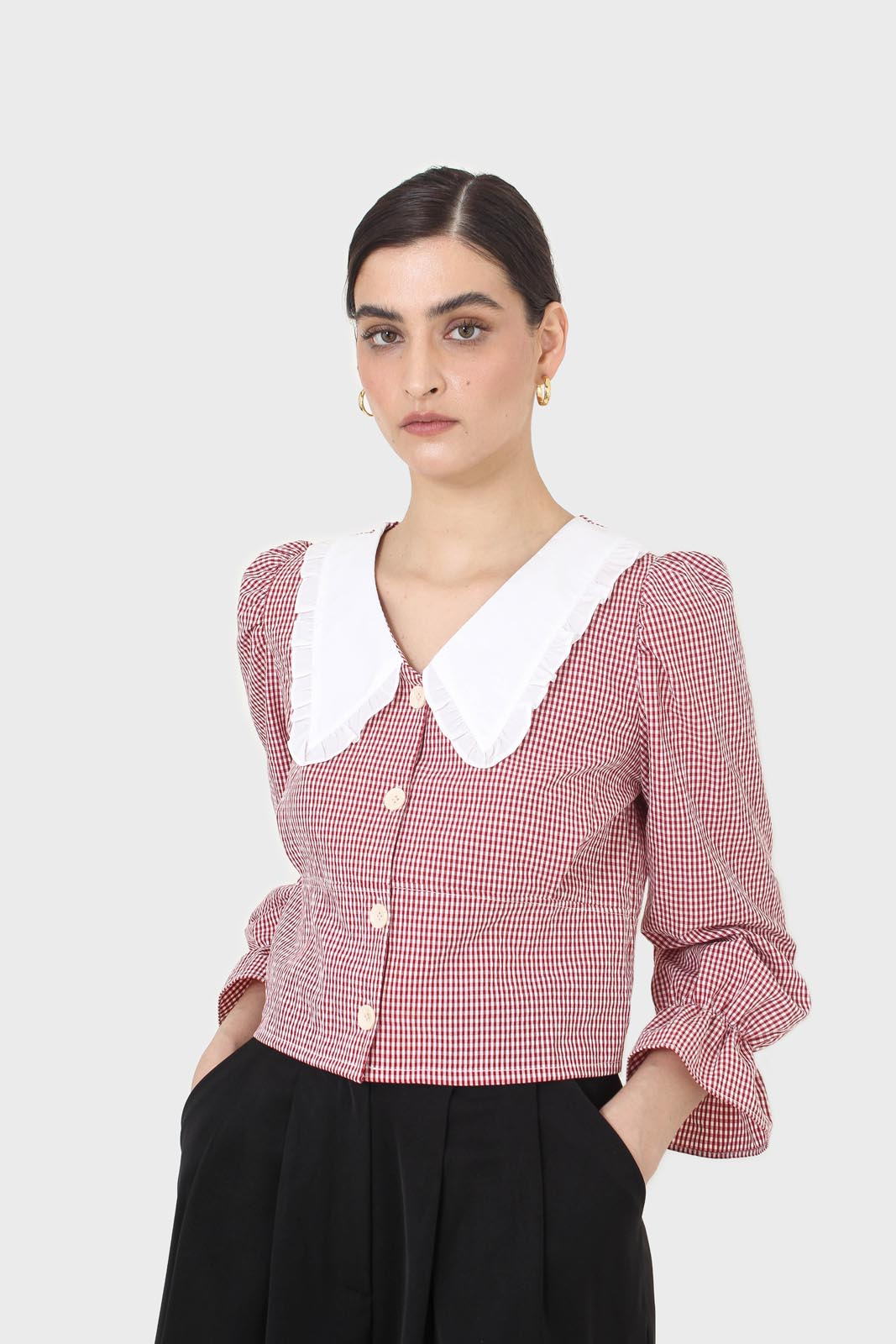 Red and ivory gingham large collar blouse2
