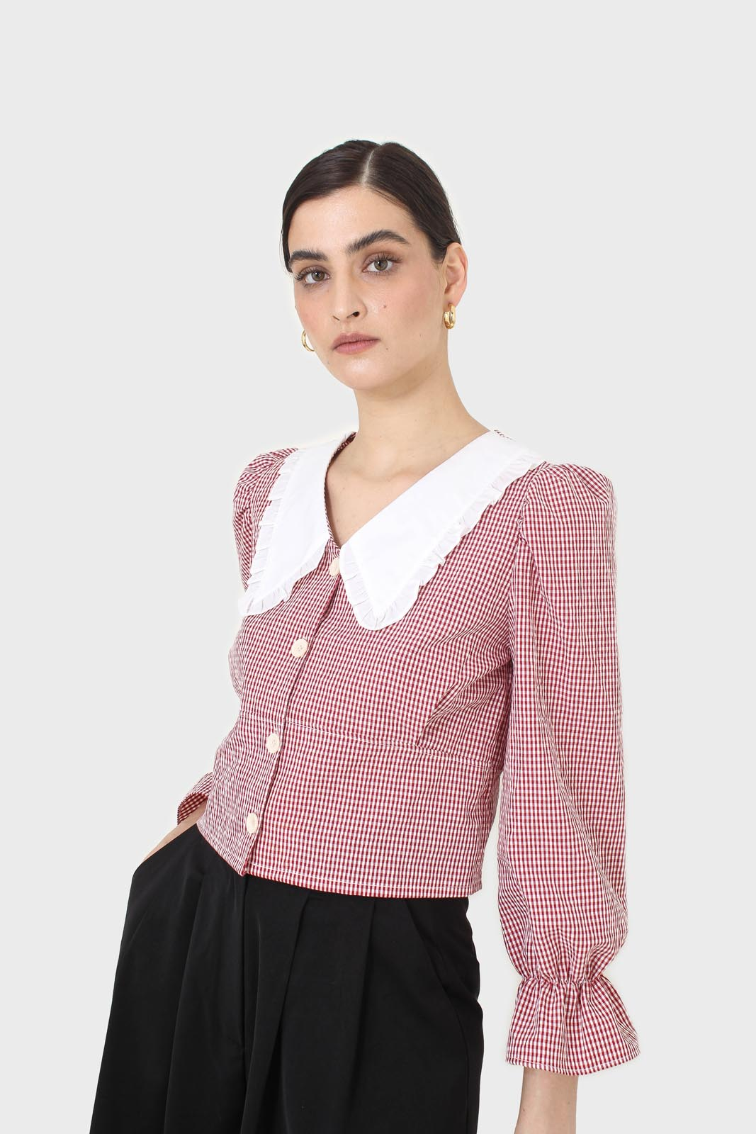 Red and ivory gingham large collar blouse3