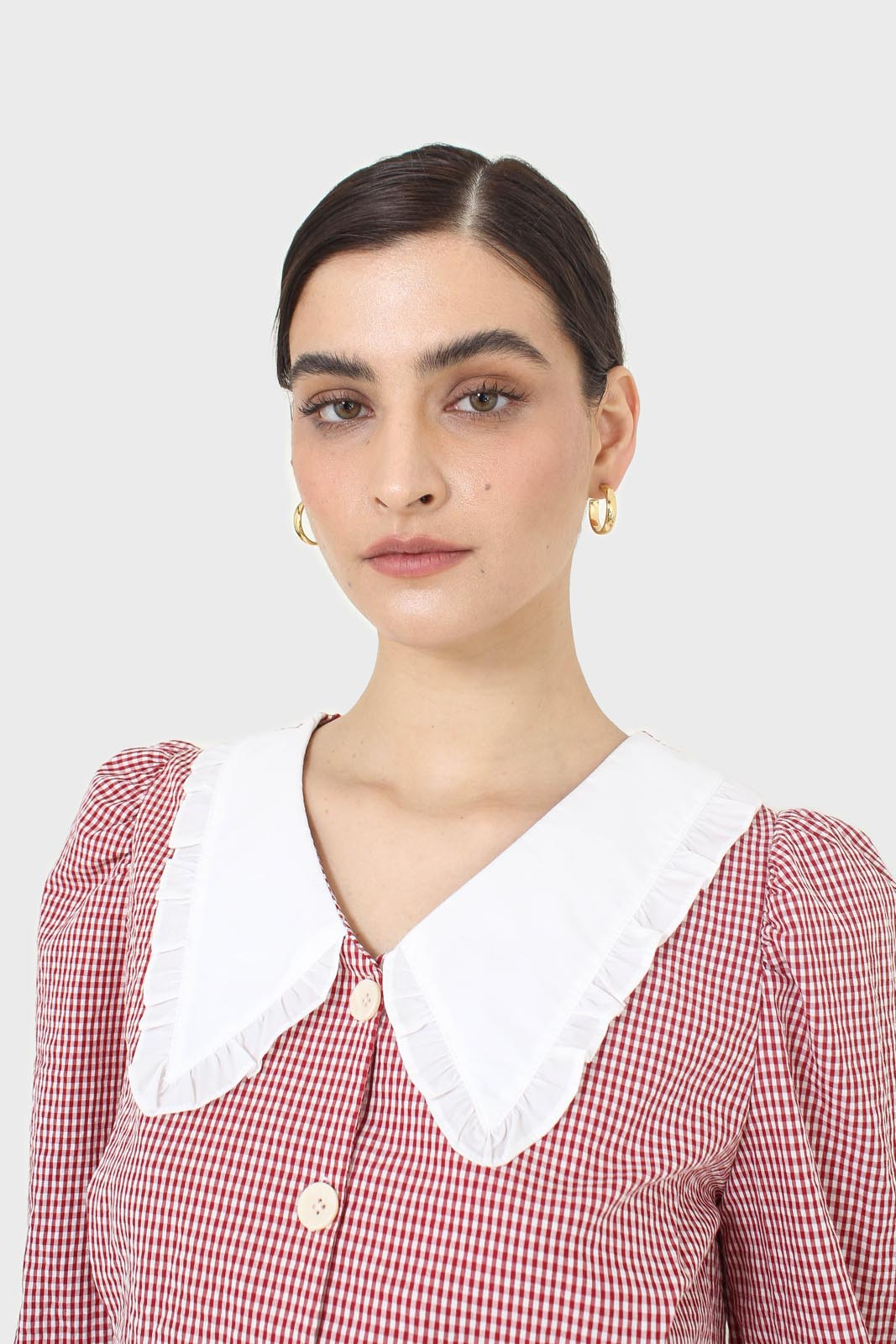 Red and ivory gingham large collar blouse4