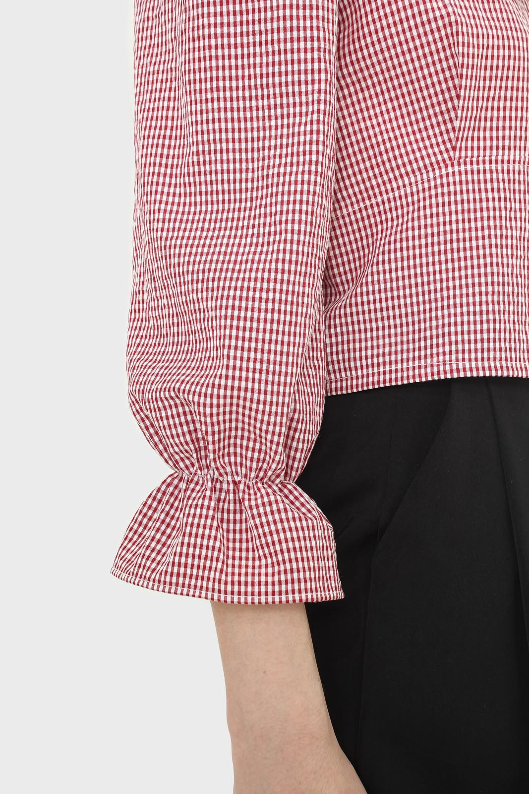 Red and ivory gingham large collar blouse6