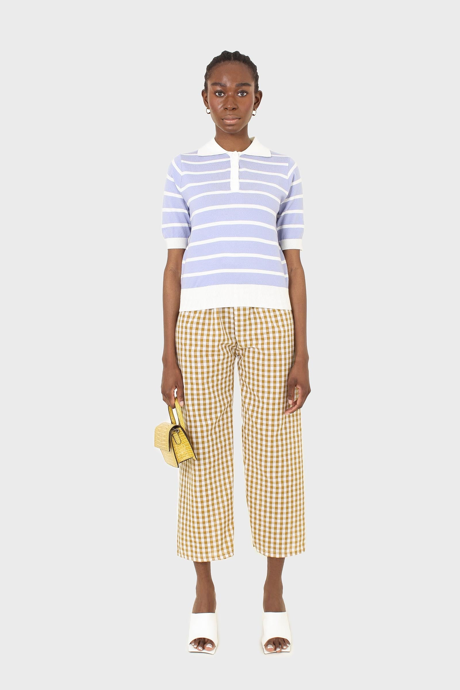 Mustard and white gingham loose fit trousers1