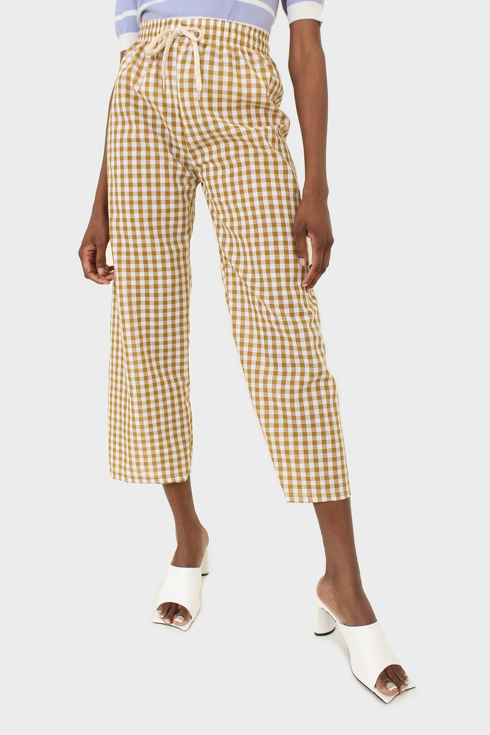 Mustard and white gingham loose fit trousers2