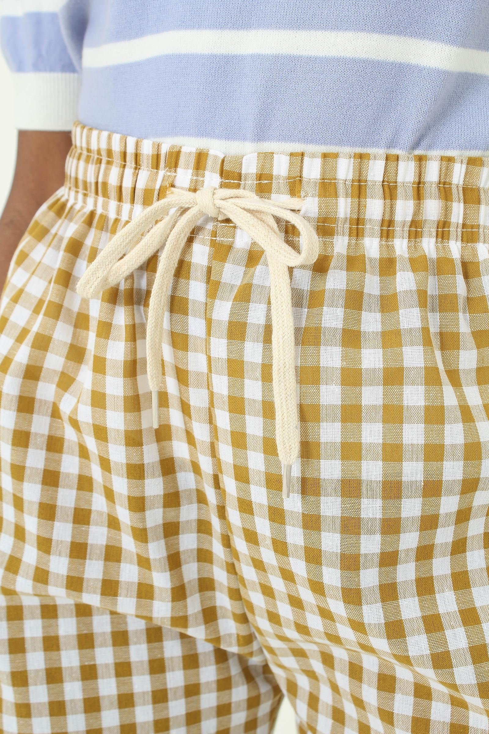 Mustard and white gingham loose fit trousers3