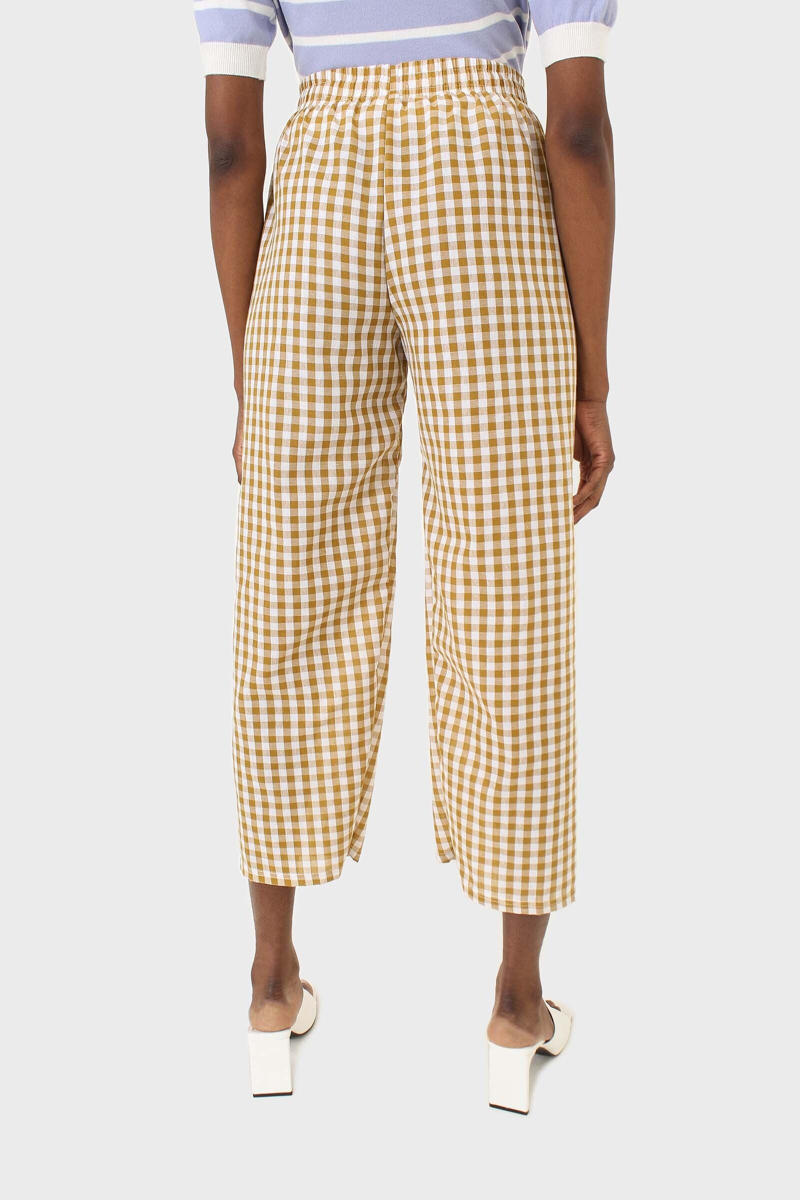 Mustard and white gingham loose fit trousers4
