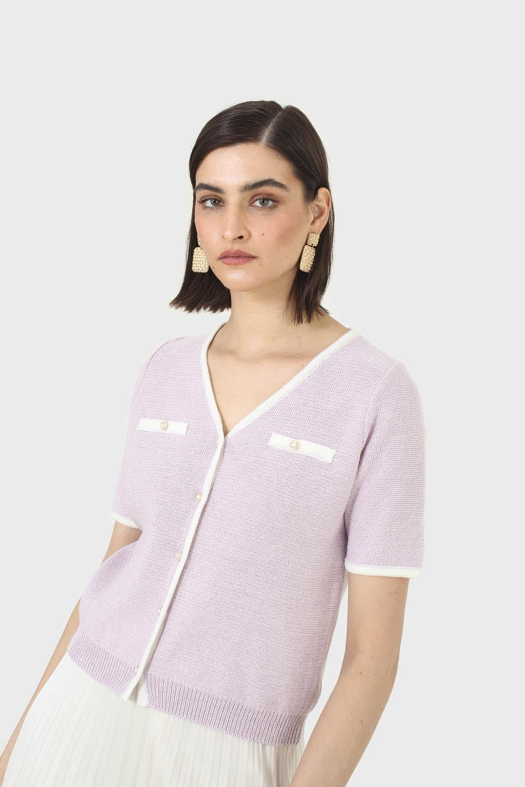 Lilac short sleeved button front knit top4