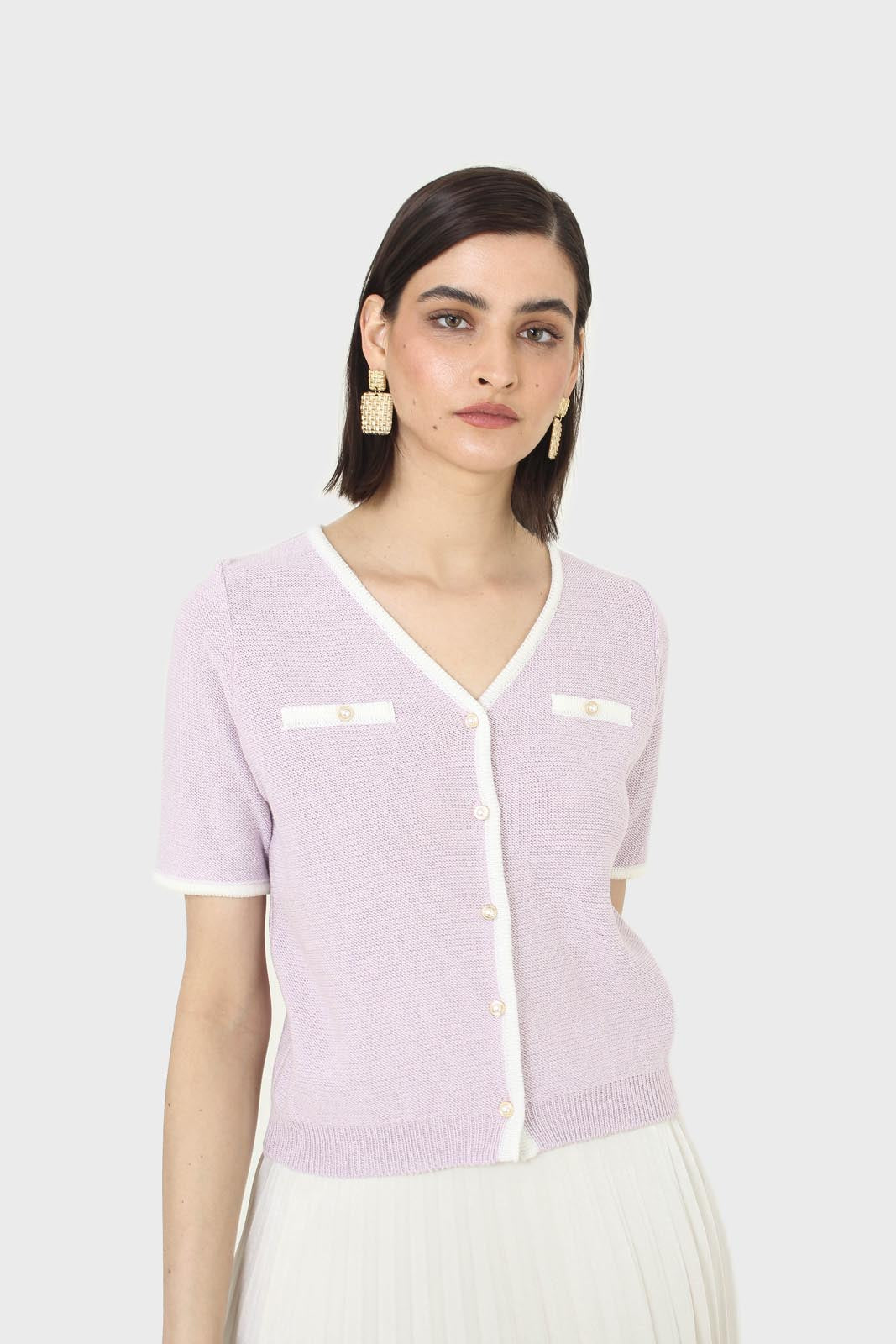 Lilac short sleeved button front knit top5