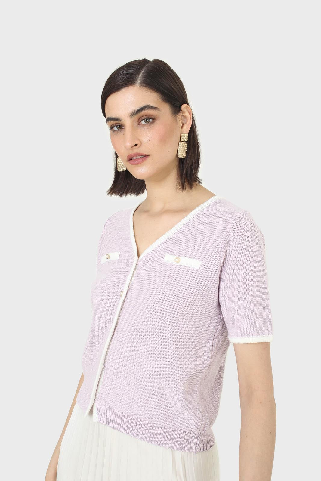 Lilac short sleeved button front knit top6