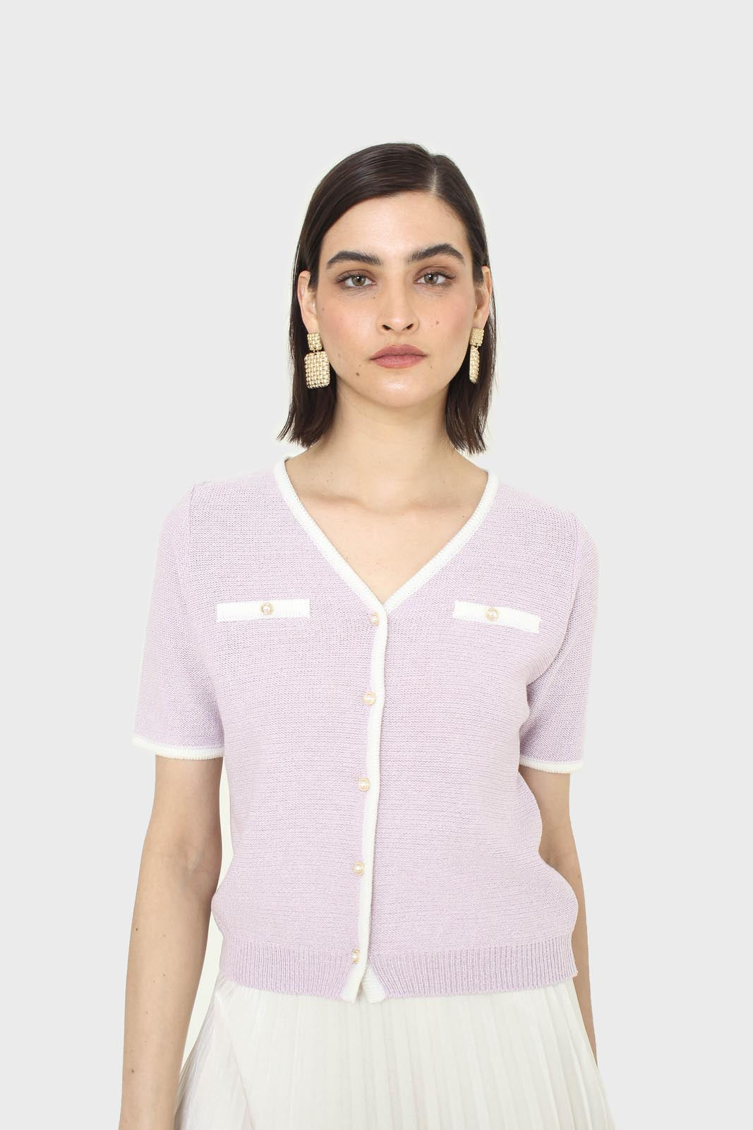 Lilac short sleeved button front knit top