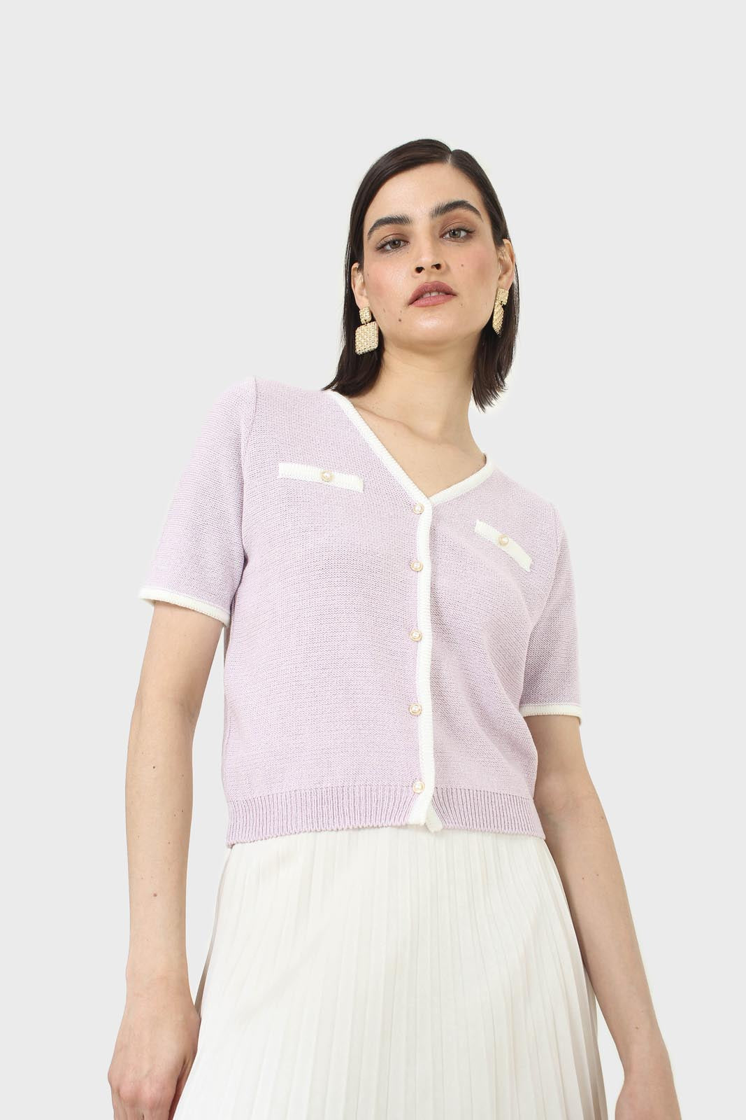 Lilac short sleeved button front knit top8