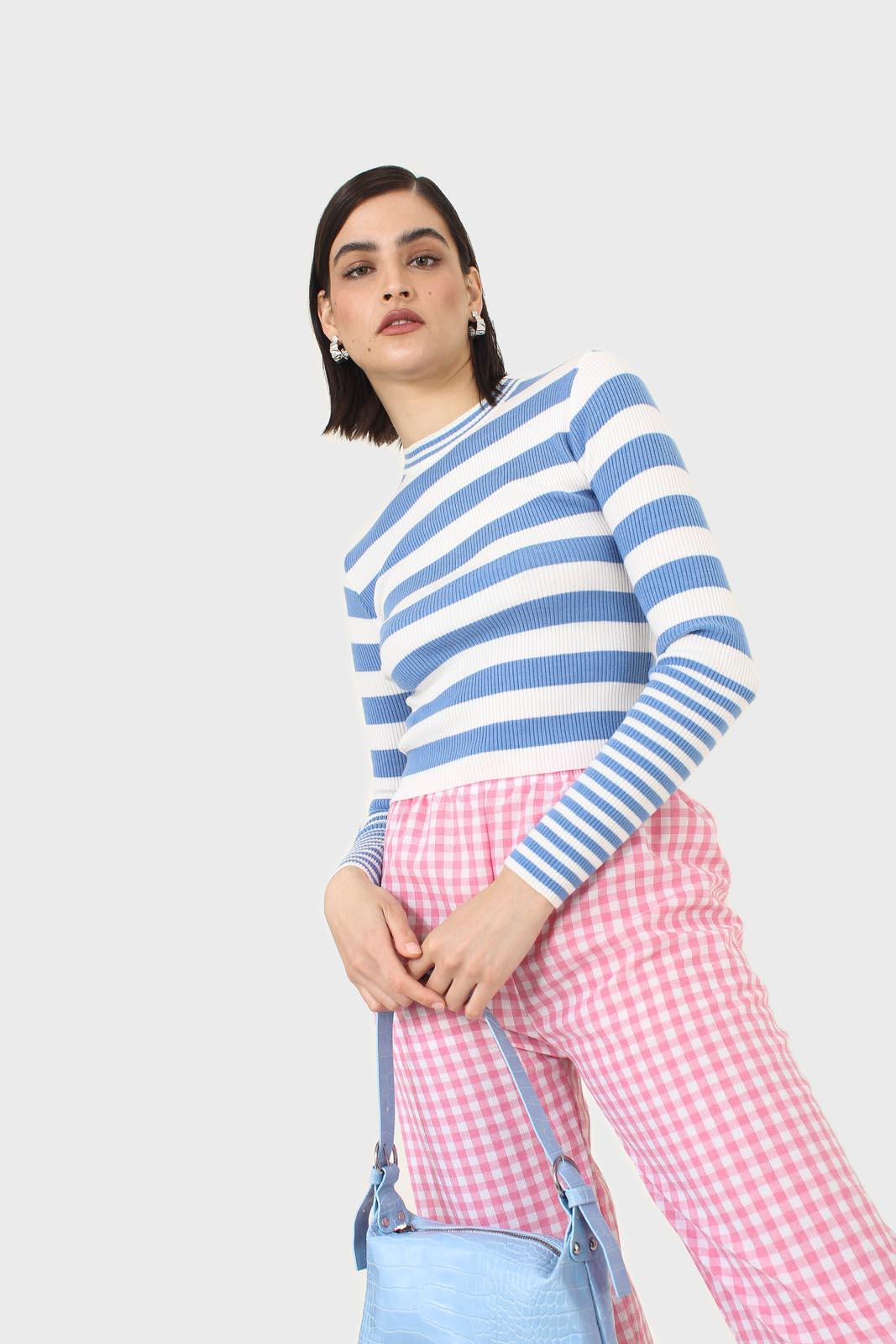 Blue and white bretton stripe long sleeved top10