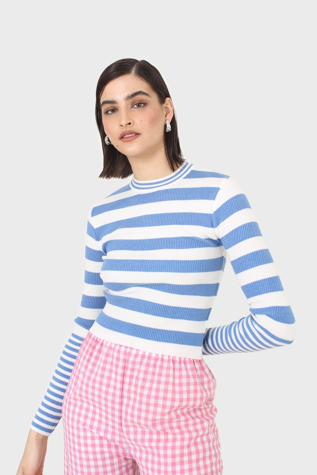 Blue and white bretton stripe long sleeved top11