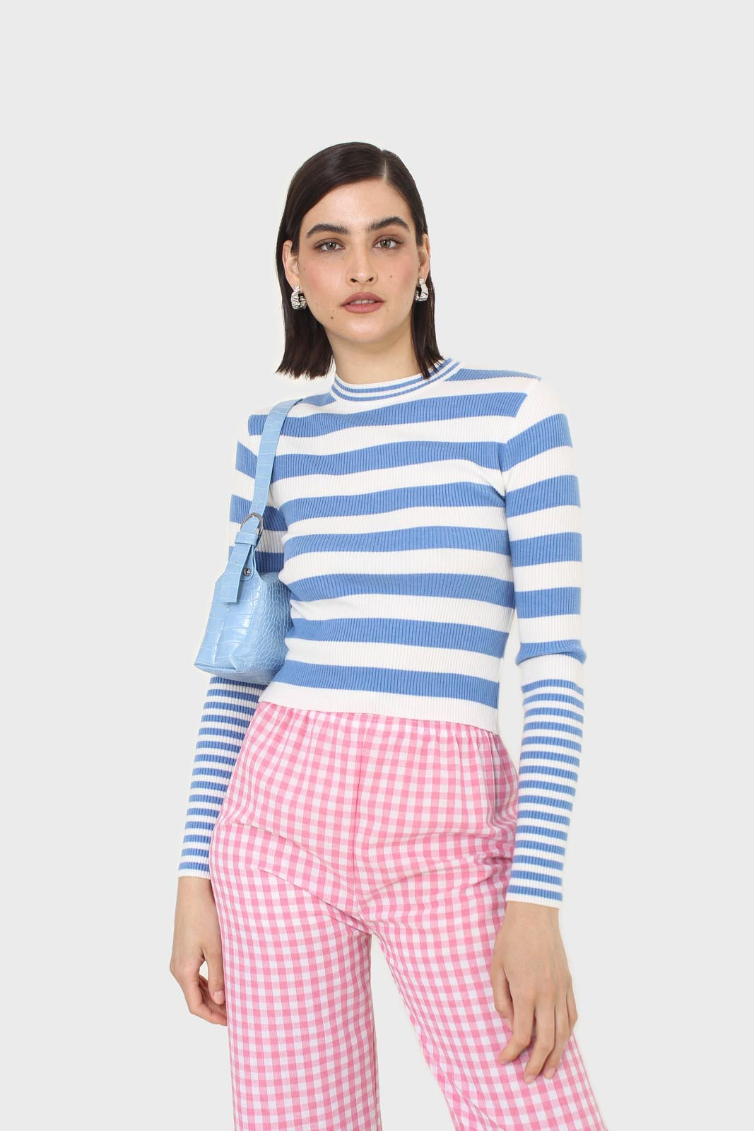 Blue and white bretton stripe long sleeved top7