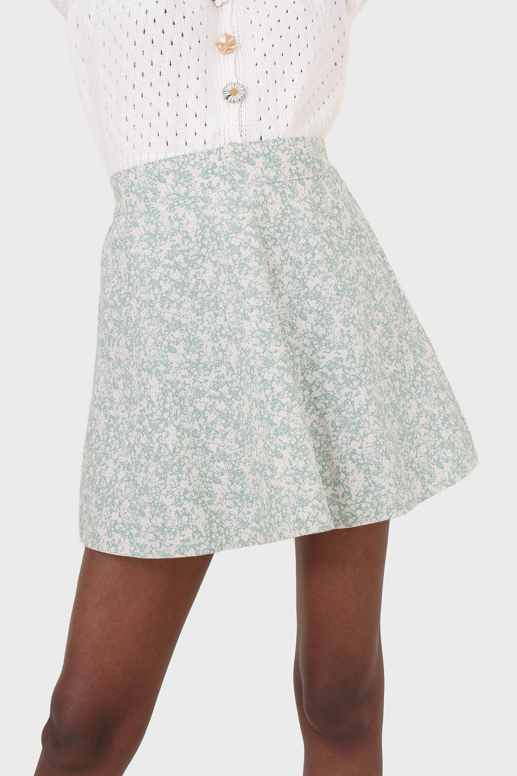 Mint and white tiny floral skirt1