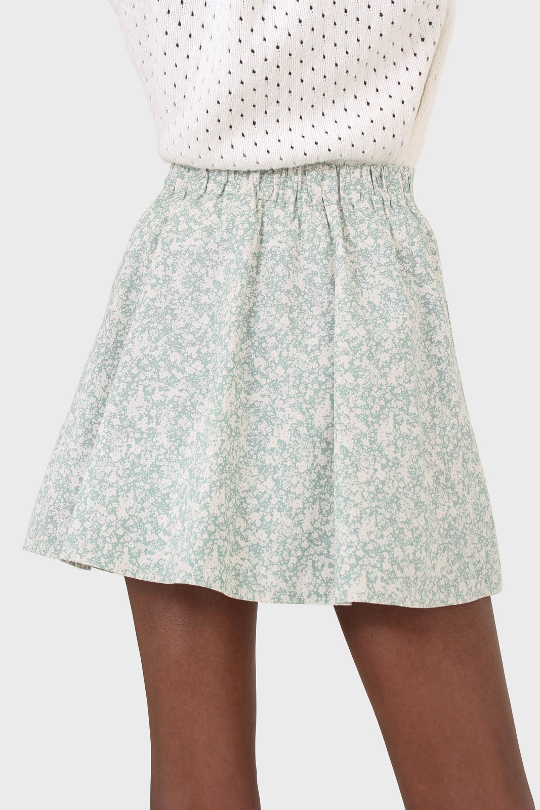 Mint and white tiny floral skirt2
