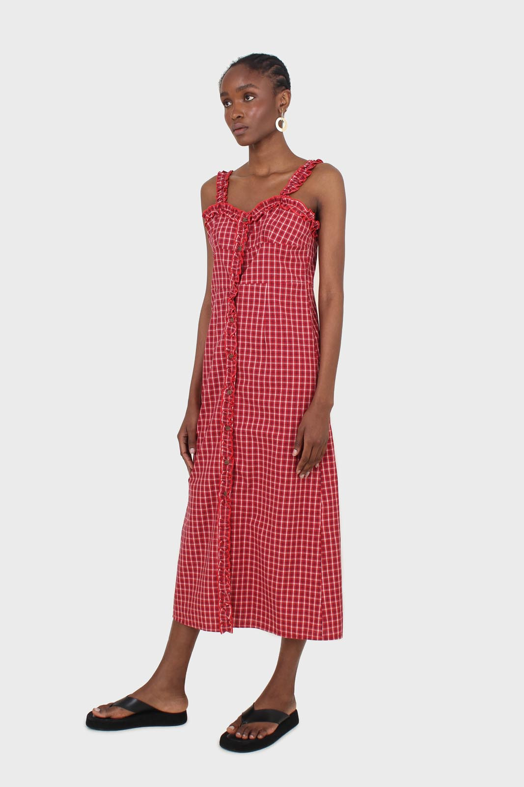Red checked frill neckline button front midi dess10