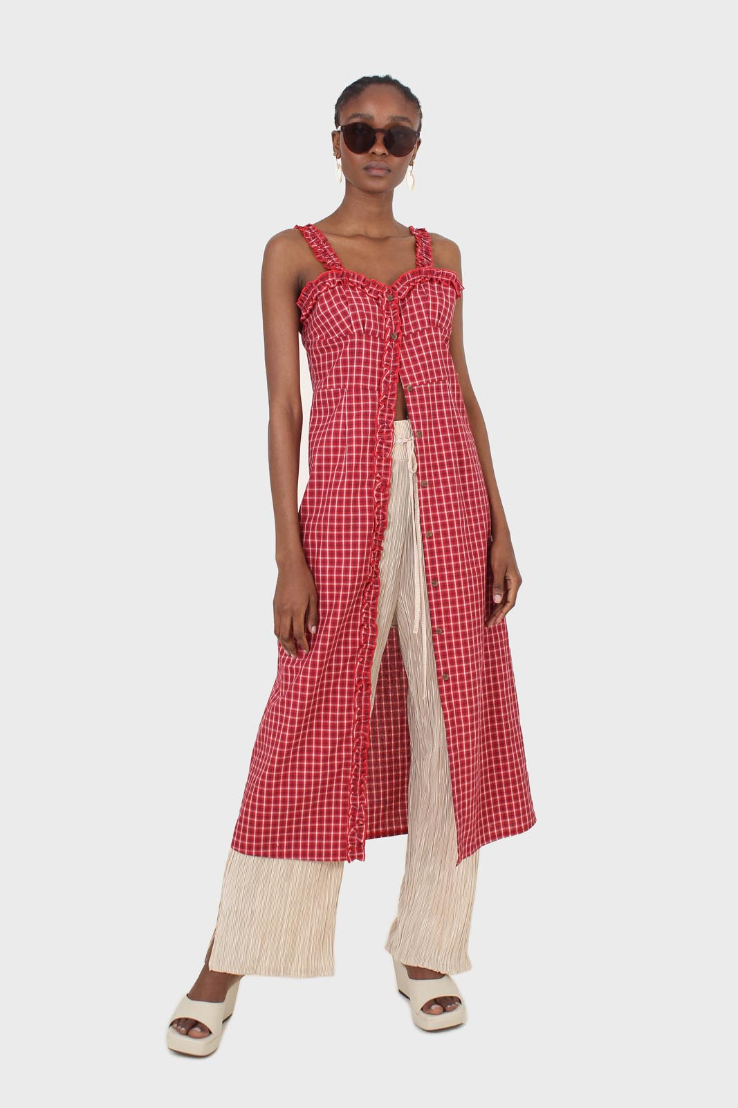 Red checked frill neckline button front midi dess1