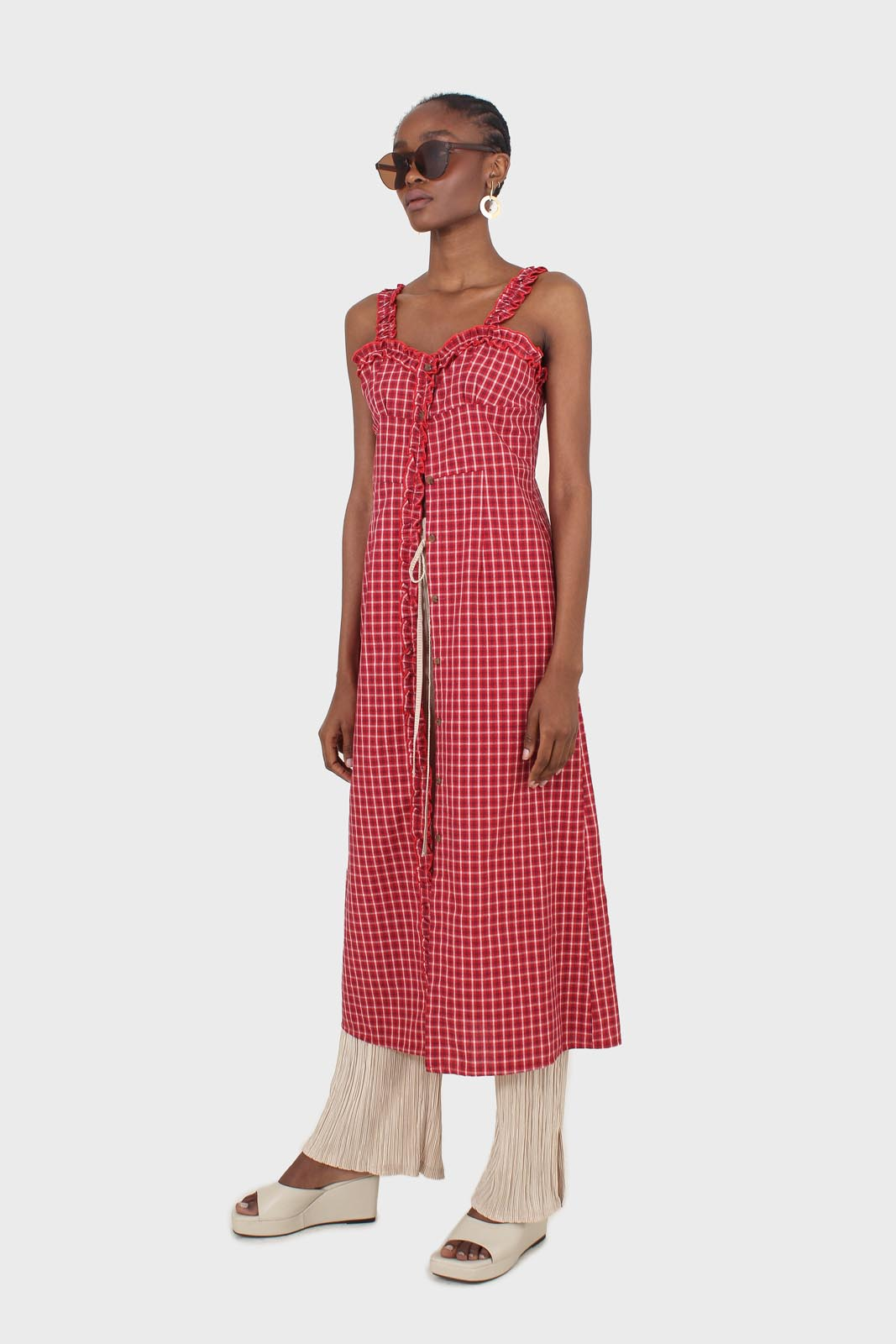 Red checked frill neckline button front midi dess2
