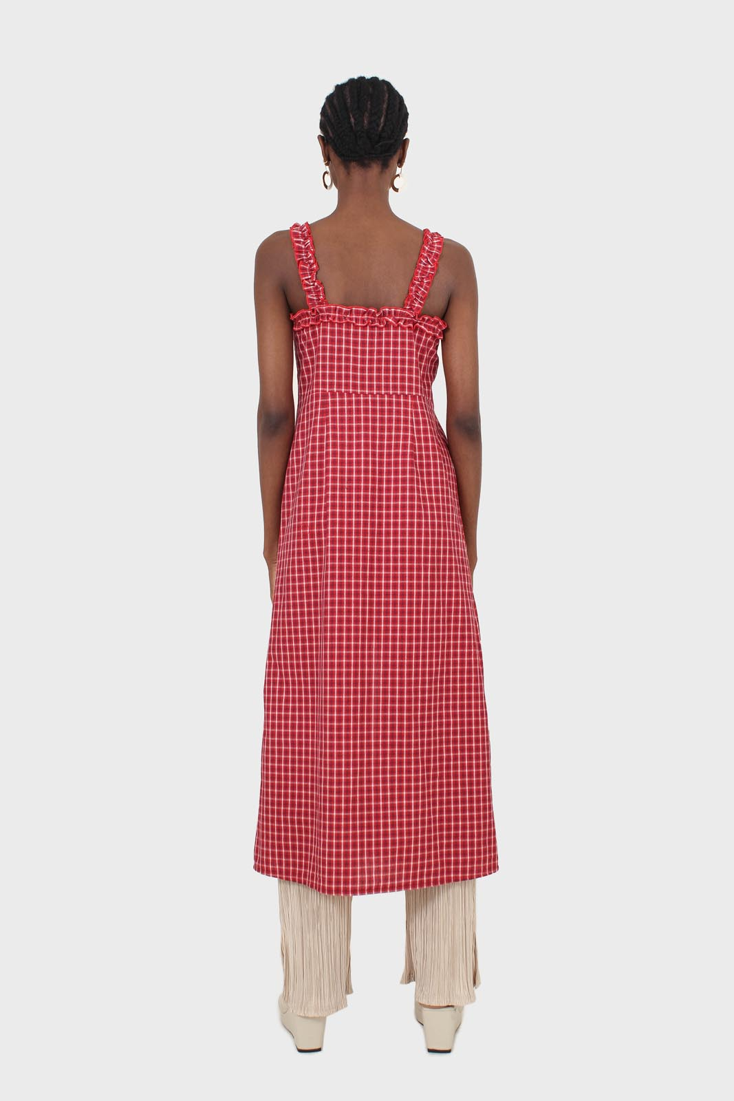 Red checked frill neckline button front midi dess3