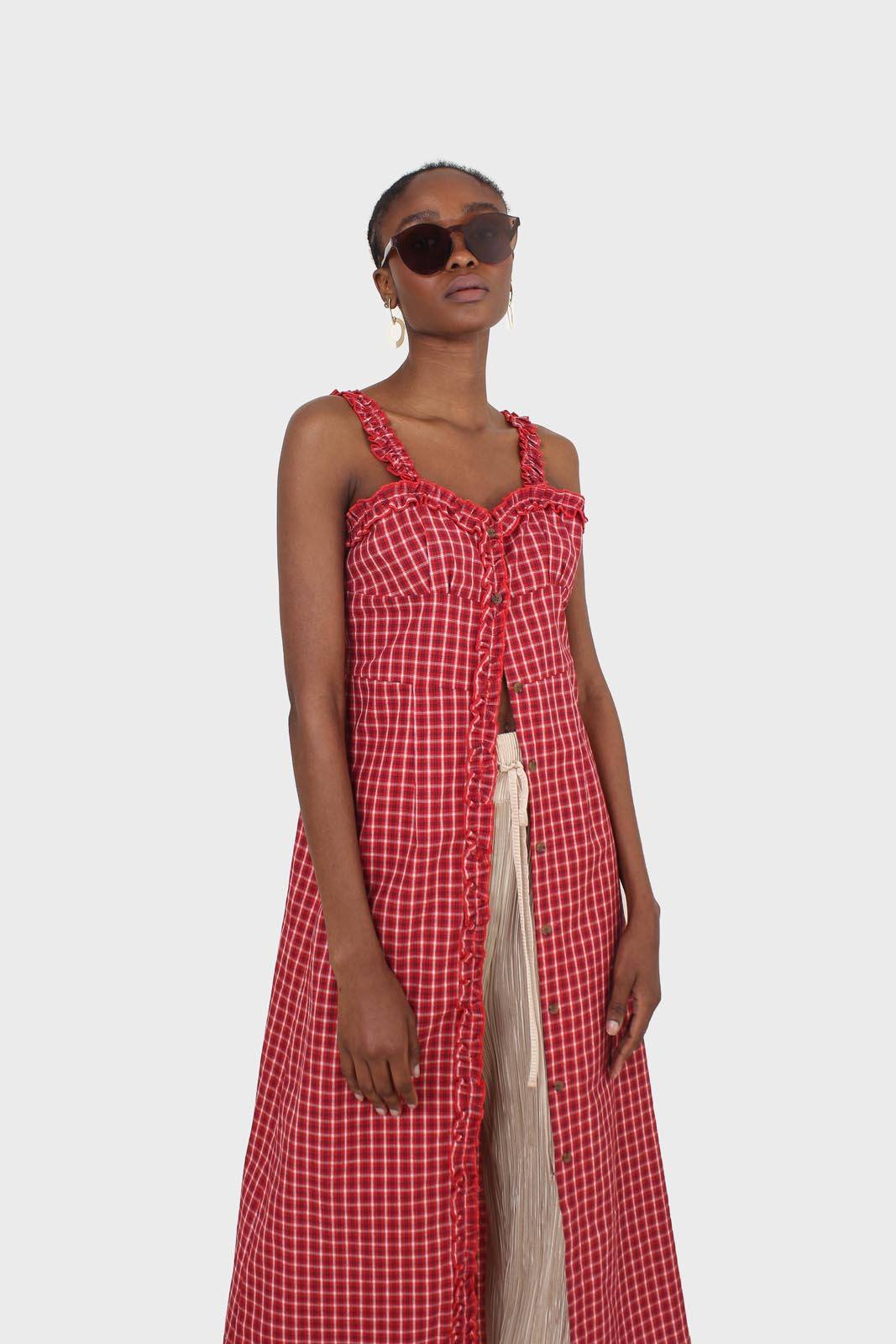 Red checked frill neckline button front midi dess4