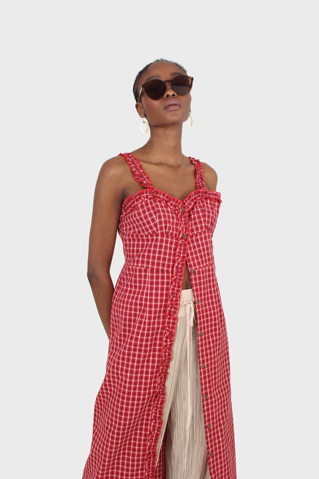 Red checked frill neckline button front midi dess5
