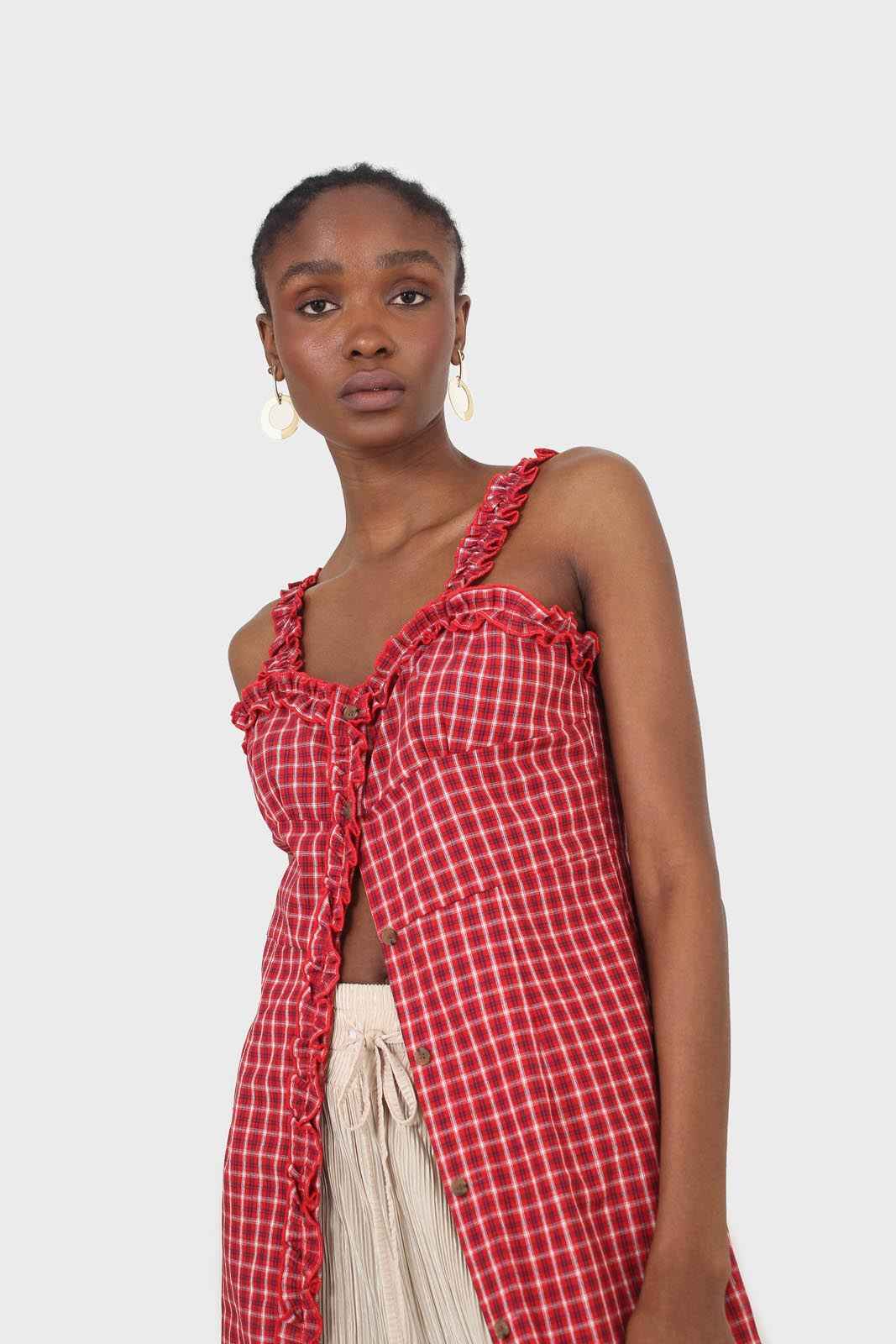 Red checked frill neckline button front midi dess8
