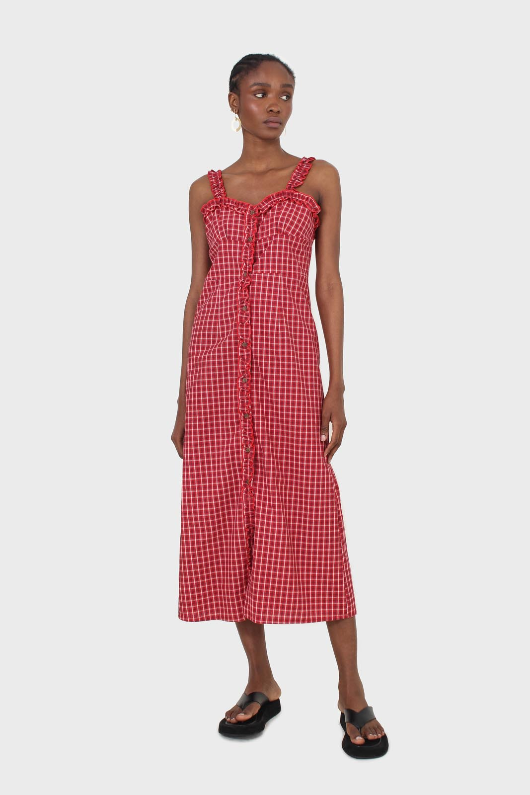 Red checked frill neckline button front midi dess9