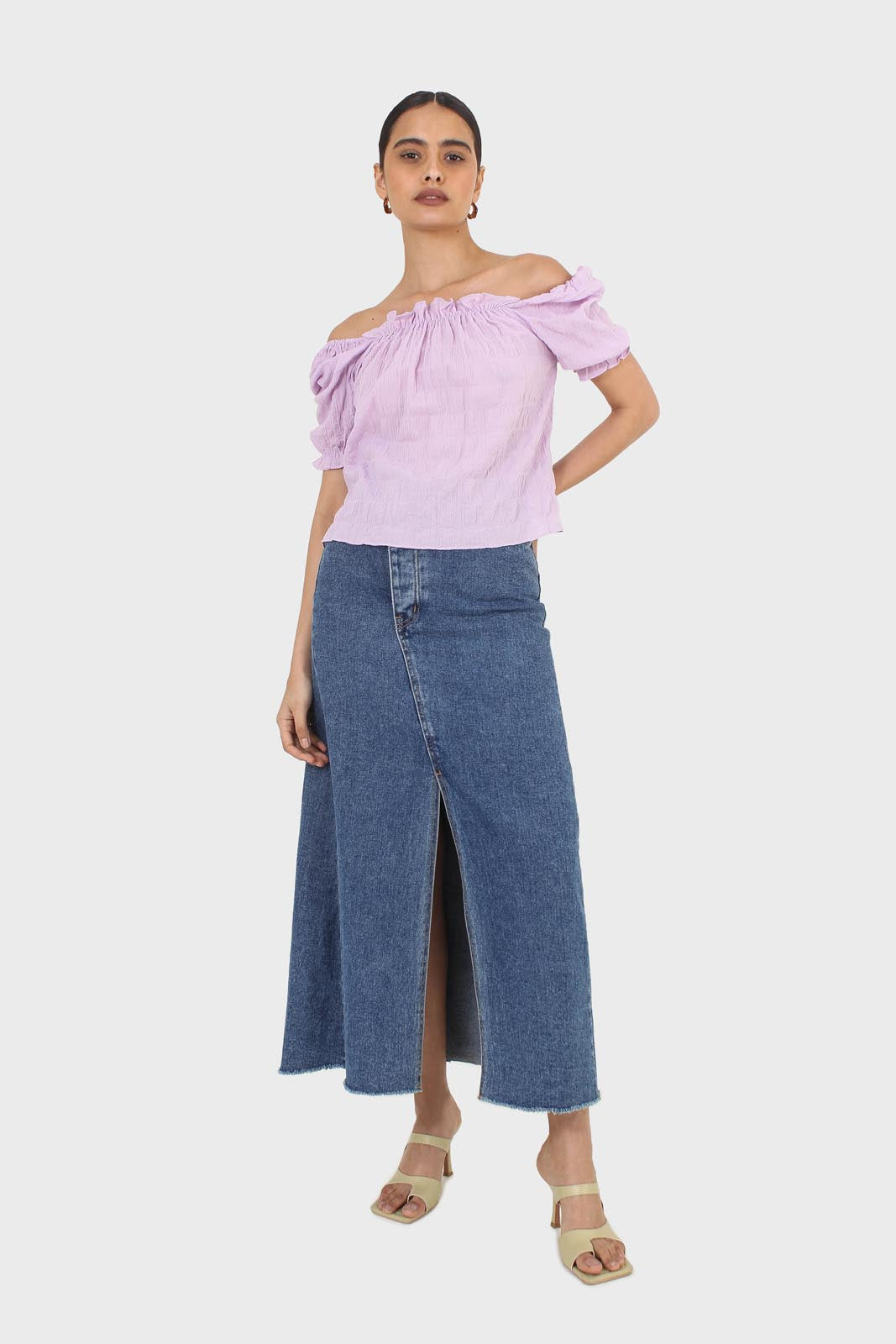 Lilac textured off the shoulder top1